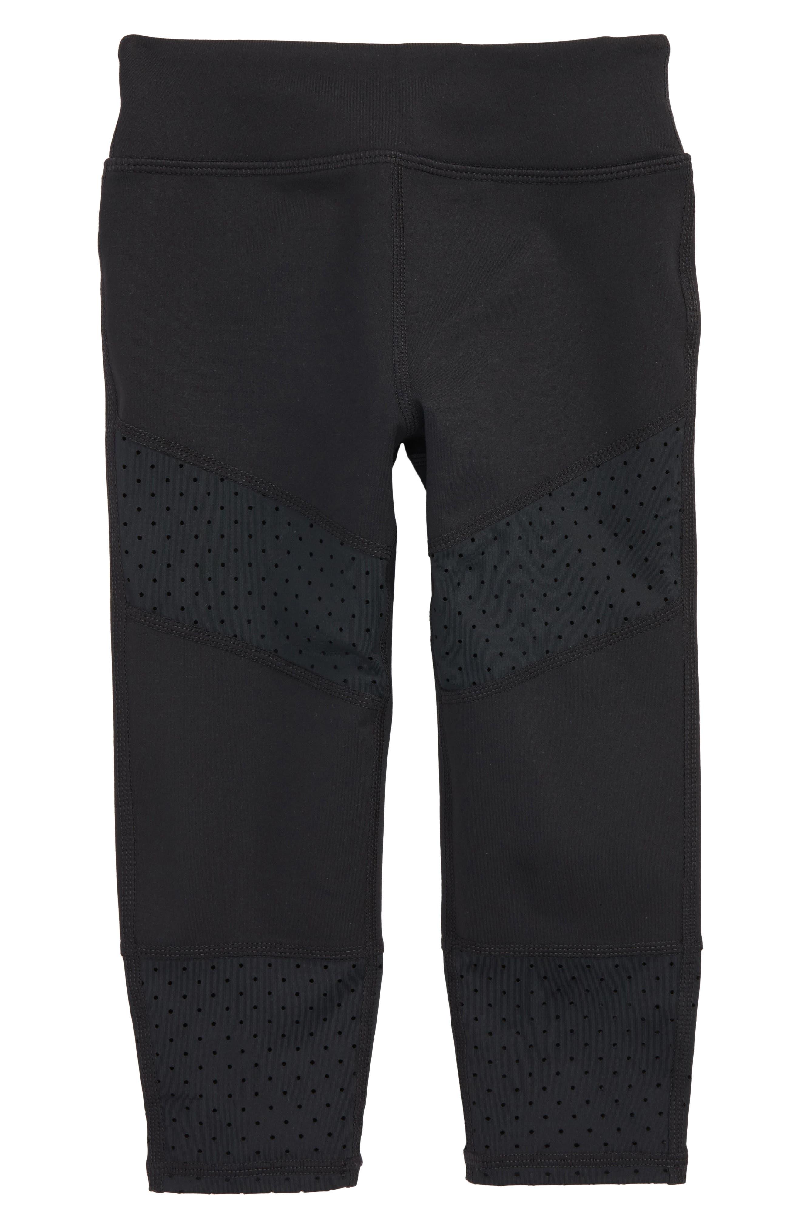Perforated Trim Crop Leggings,                             Main thumbnail 1, color,                             Black