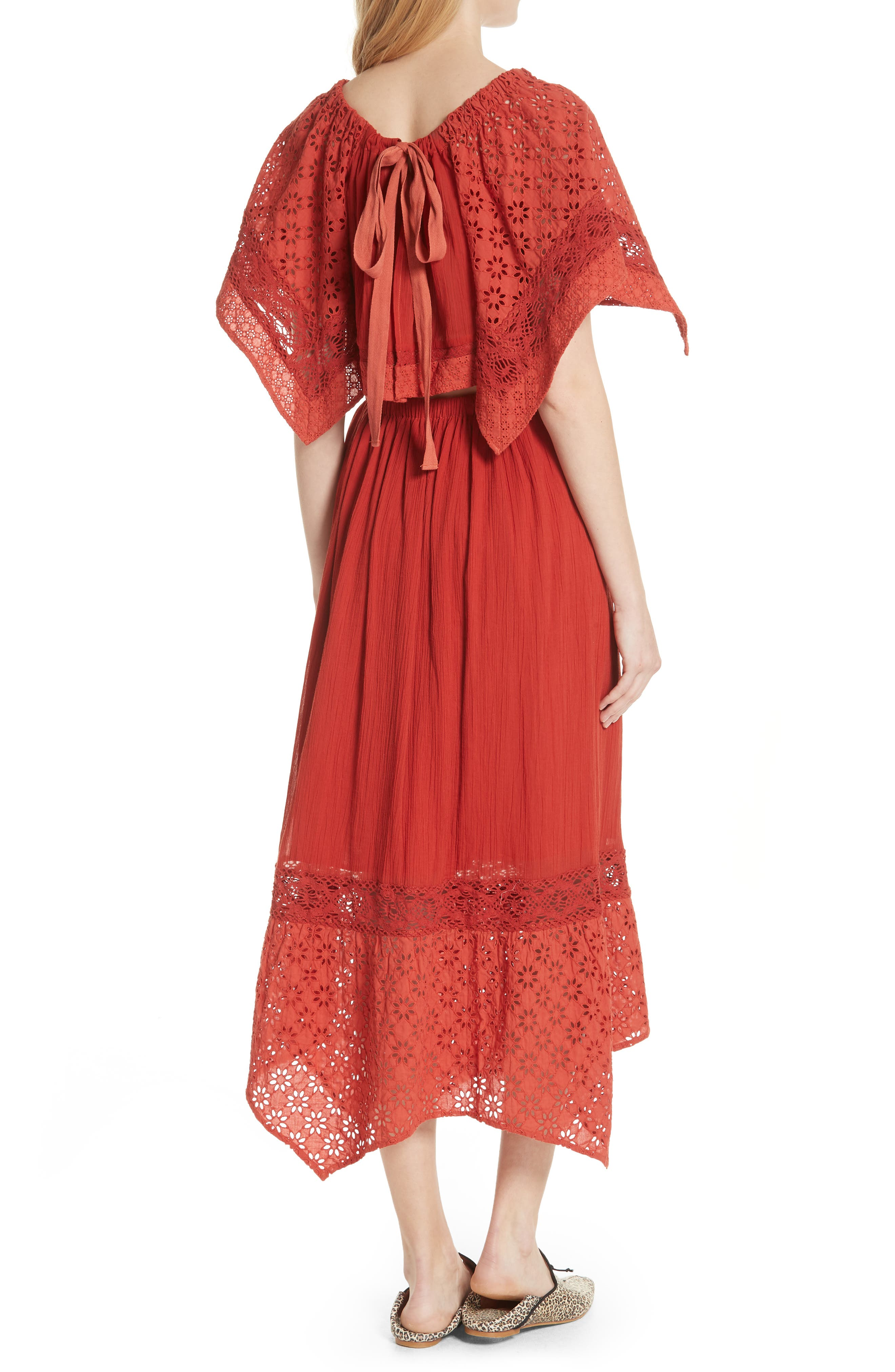 Free People Darling Top & Skirt,                             Alternate thumbnail 2, color,                             Red