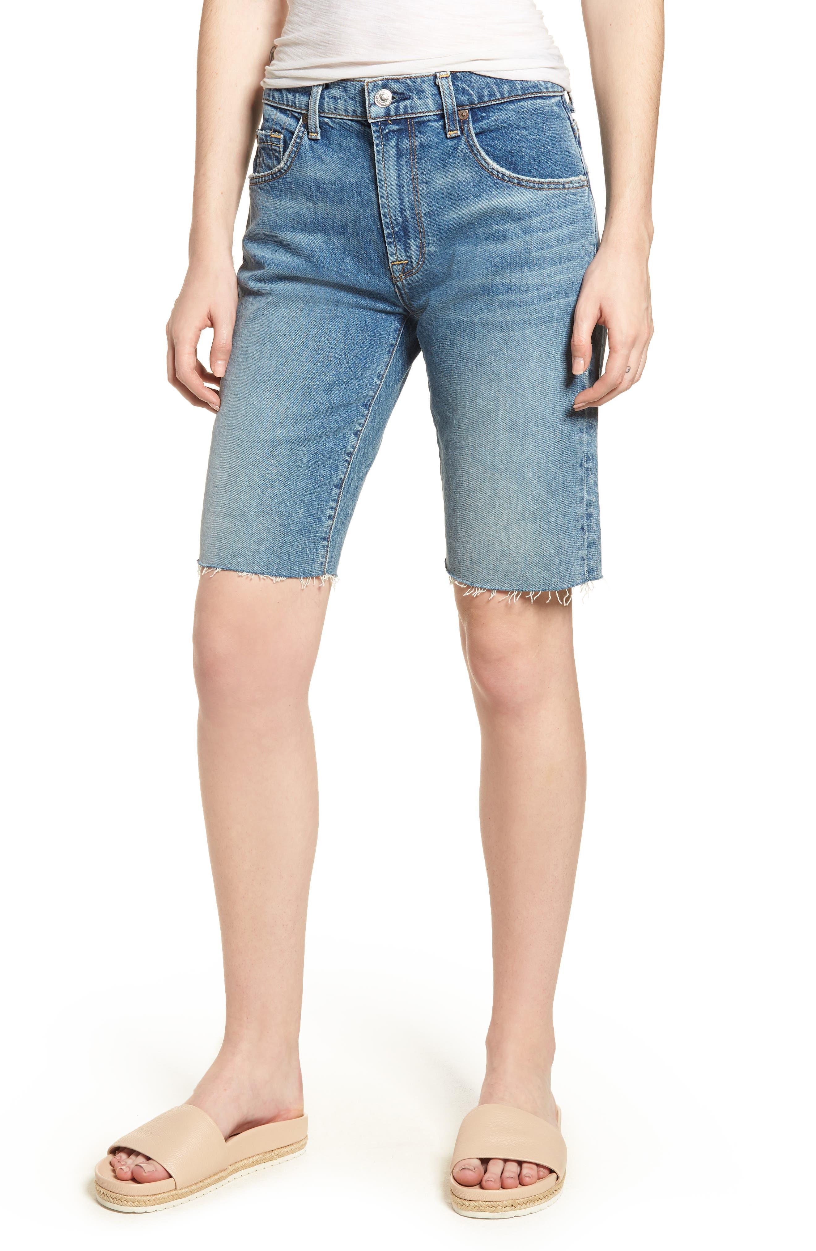 High Waist Denim Bermuda Shorts,                         Main,                         color, Desert Oasis