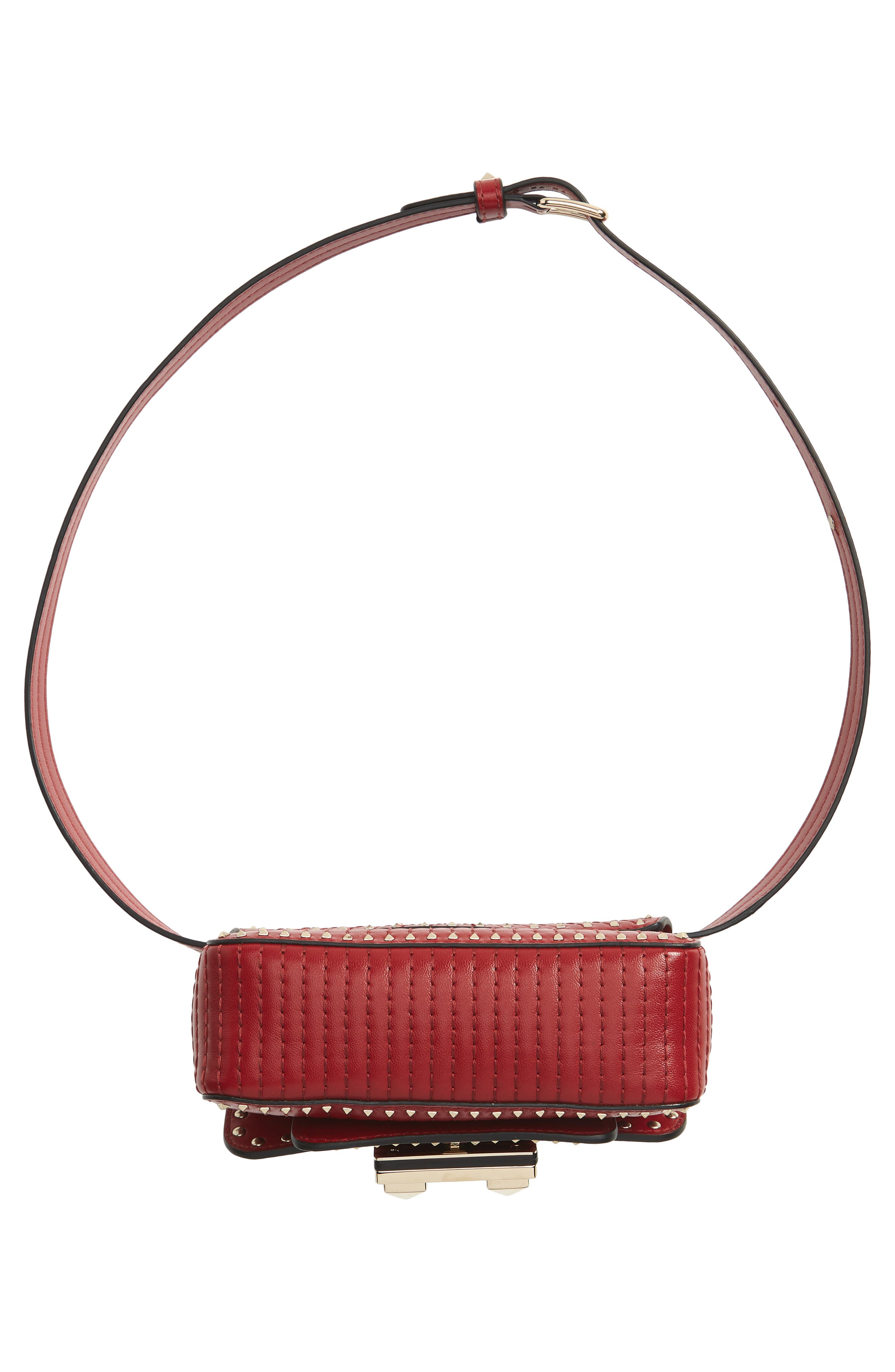 Mini Ziggystud Leather Convertible Crossbody/Belt Bag,                             Alternate thumbnail 8, color,                             Rosso