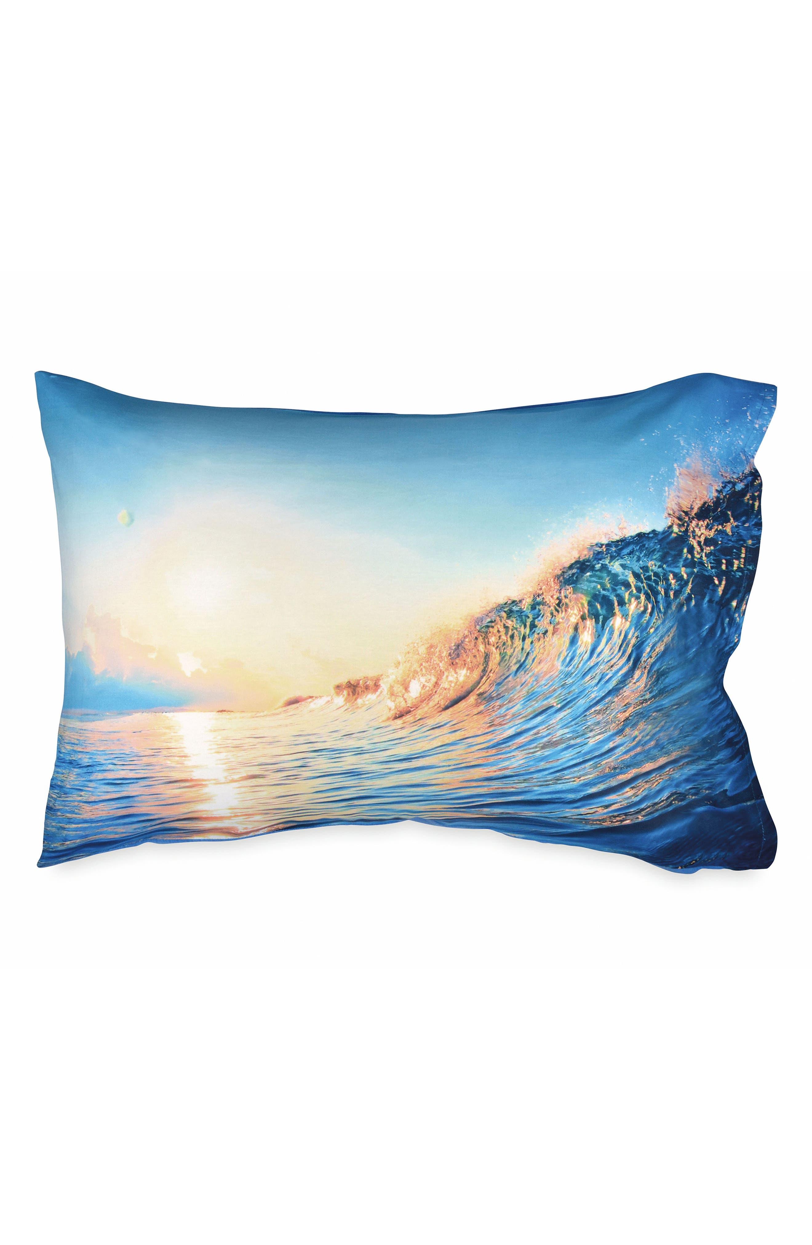 Wave Pillowcase,                             Main thumbnail 1, color,                             Aqua