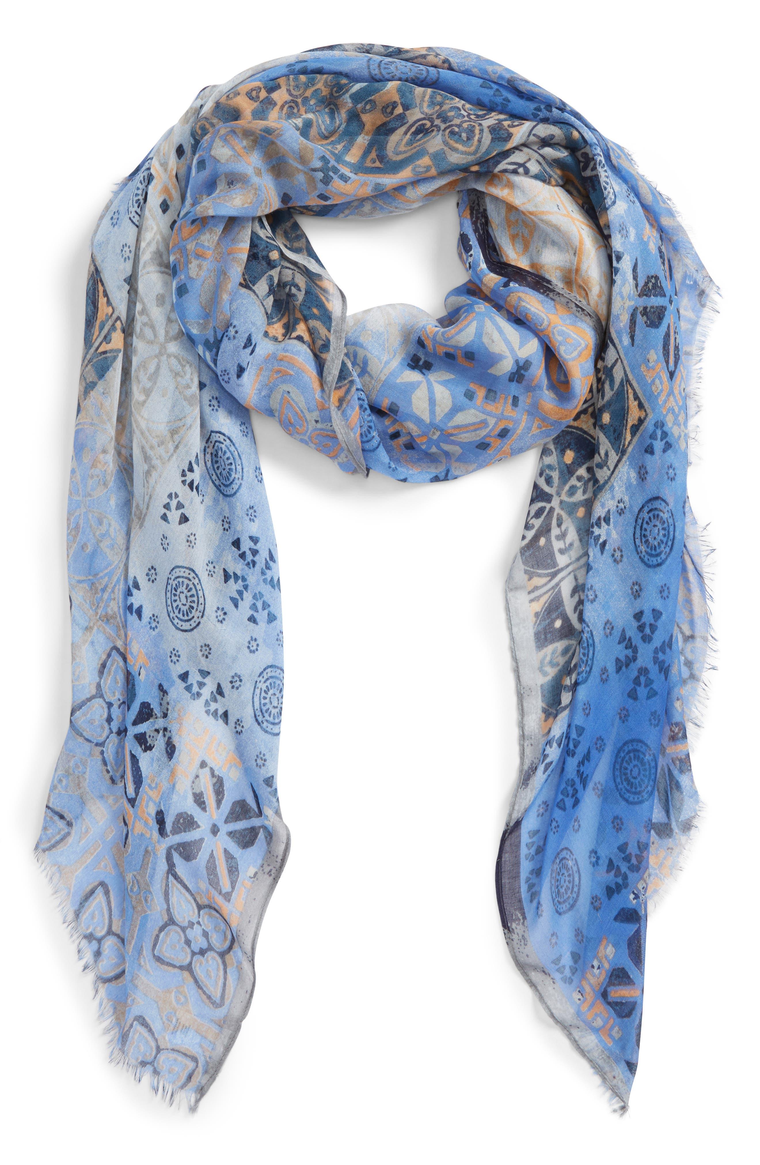 Print Modal & Silk Scarf,                             Main thumbnail 1, color,                             Blue Mediterranean Tiles