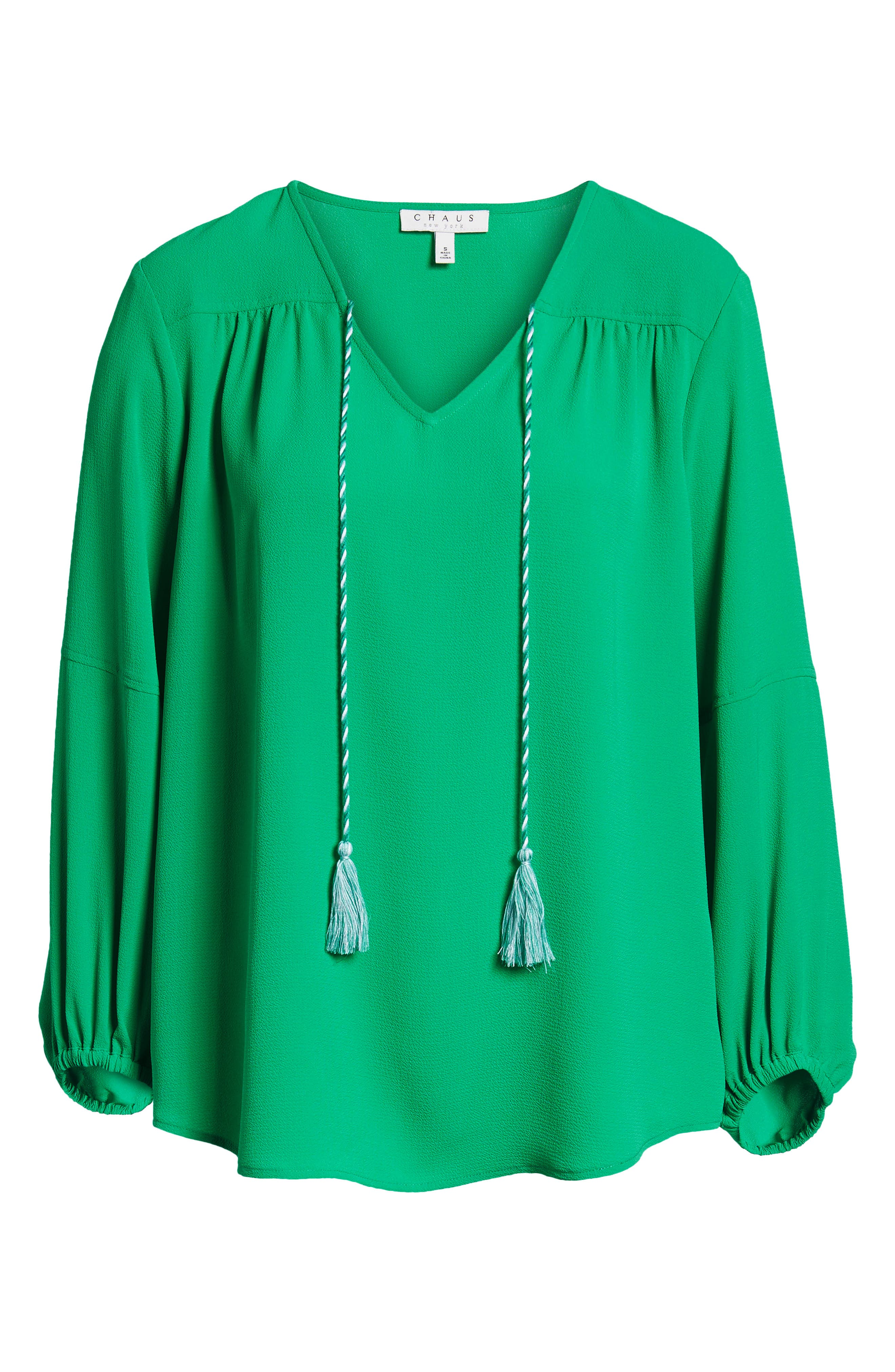Tie Neck Crepe Blouse,                             Alternate thumbnail 7, color,                             Gallery Green