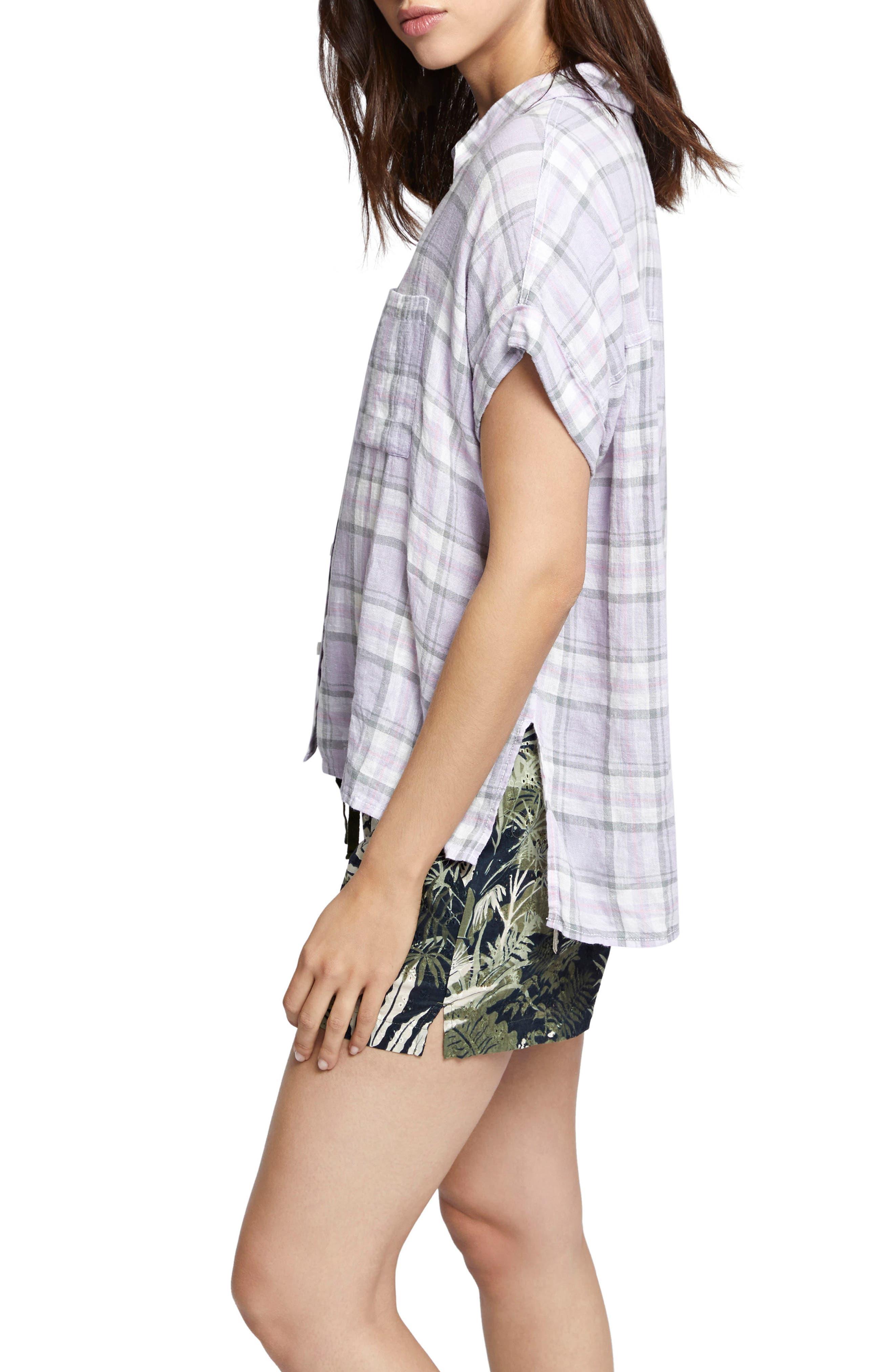 Mod Short Sleeve Boyfriend Shirt,                             Alternate thumbnail 3, color,                             Orchid Oasis Plaid