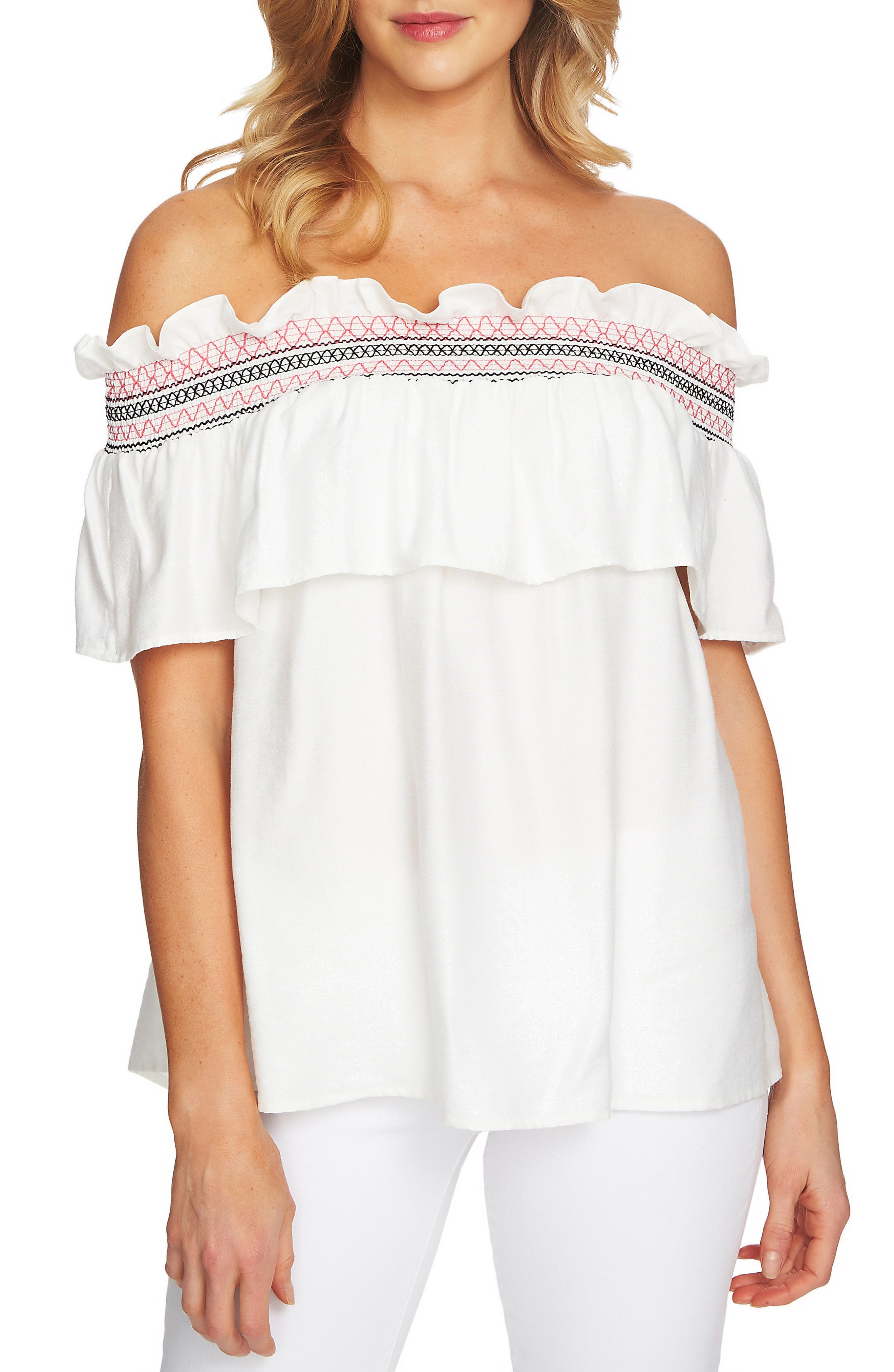 Off The Shoulder Ruffle Knit Top,                             Main thumbnail 1, color,                             New Ivory