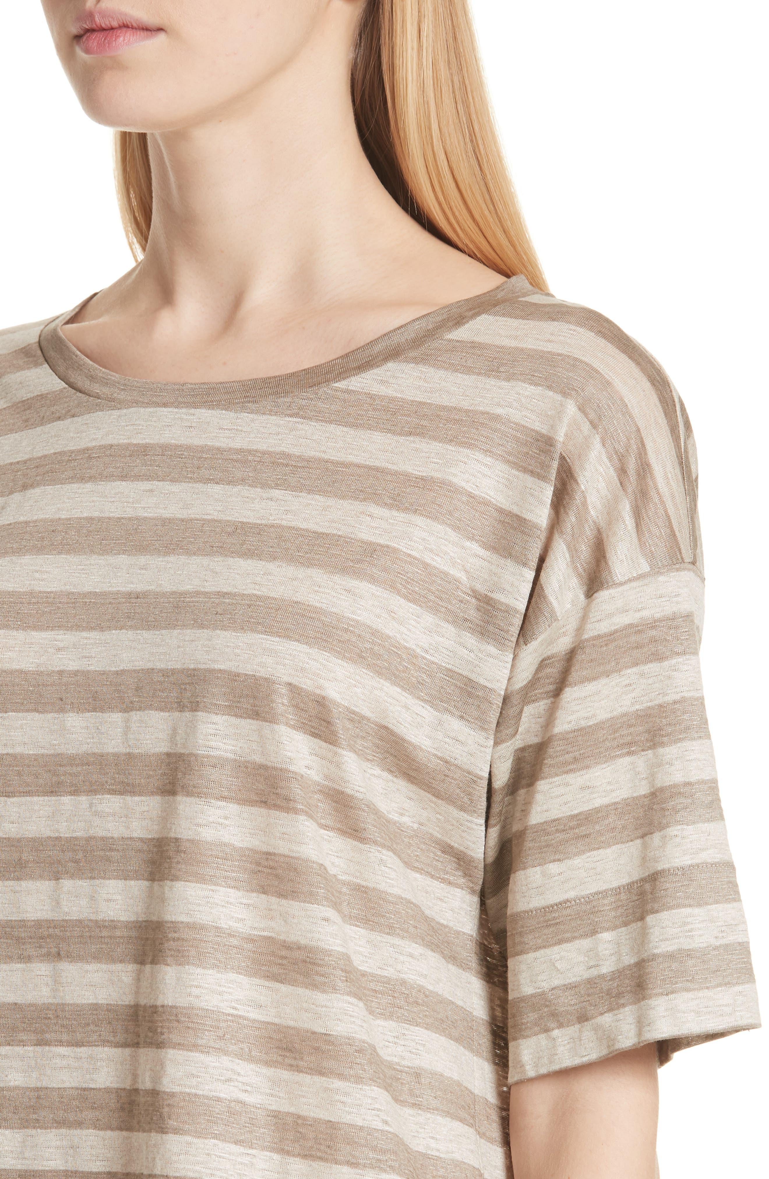 Easy Stripe Linen Tee,                             Alternate thumbnail 4, color,                             Partridge Multi