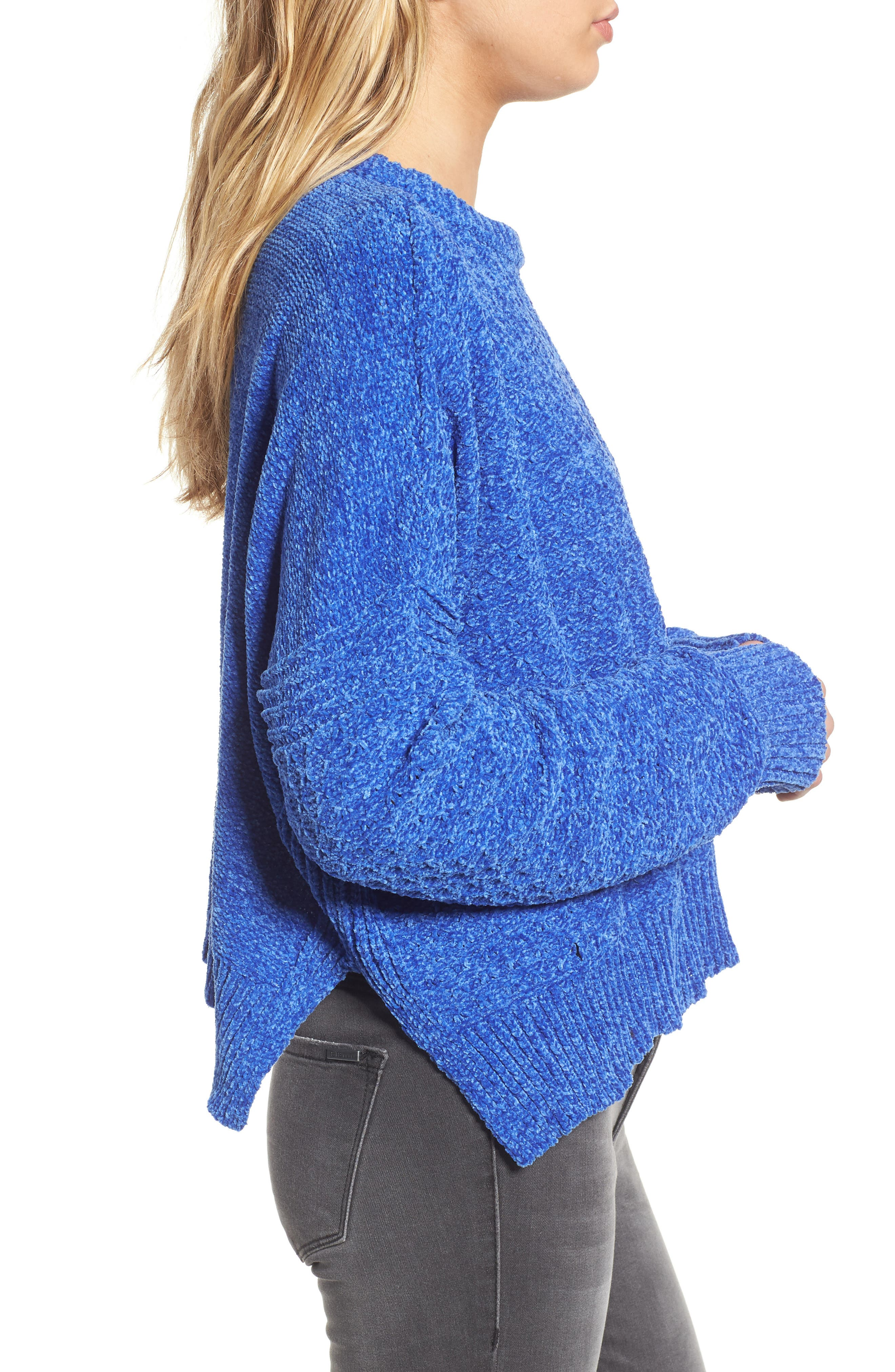 Chenille Sweater,                             Alternate thumbnail 3, color,                             Electric Blue