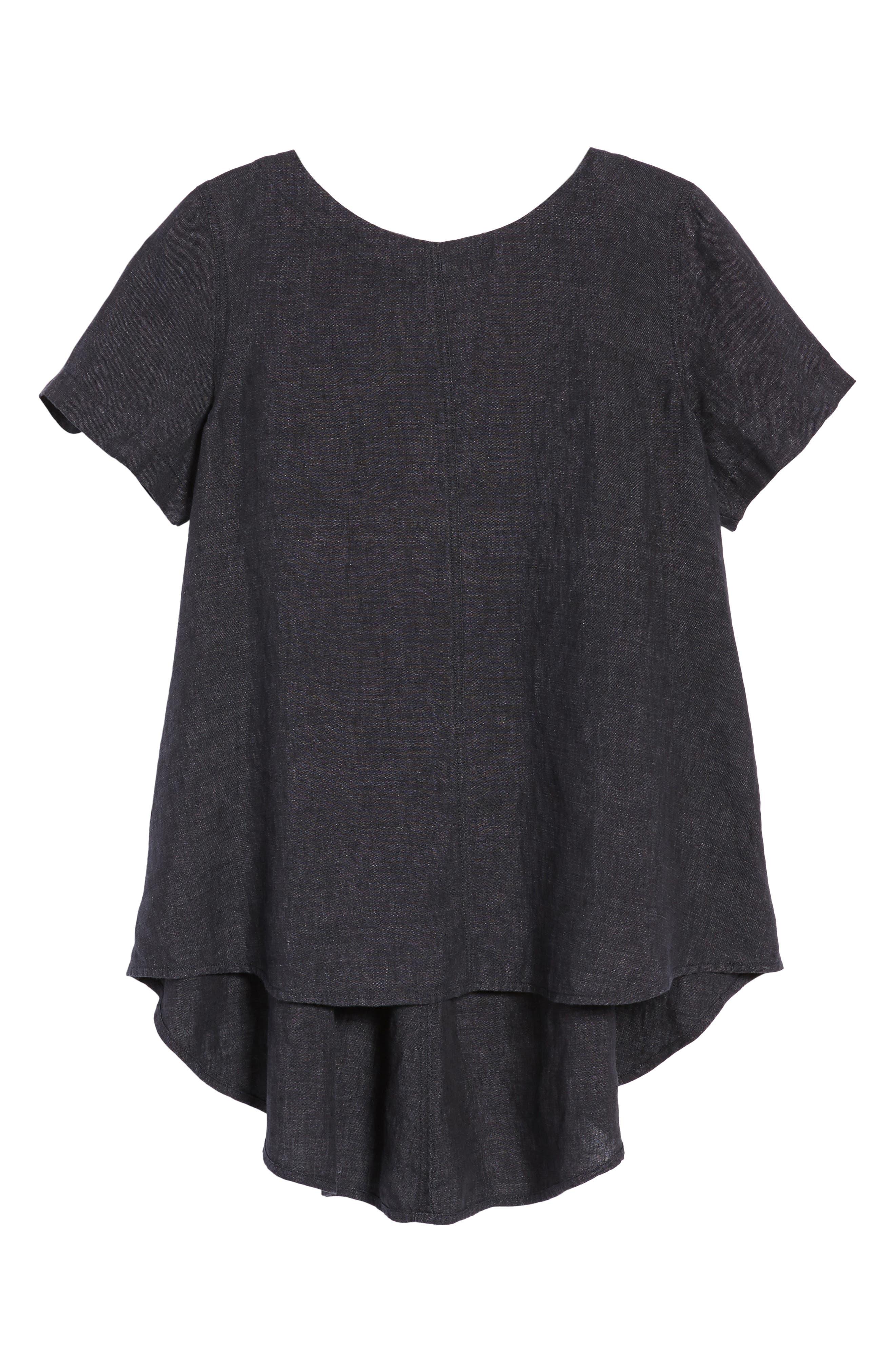 Short Sleeve Organic Linen Flutter Top,                             Alternate thumbnail 7, color,                             Denim