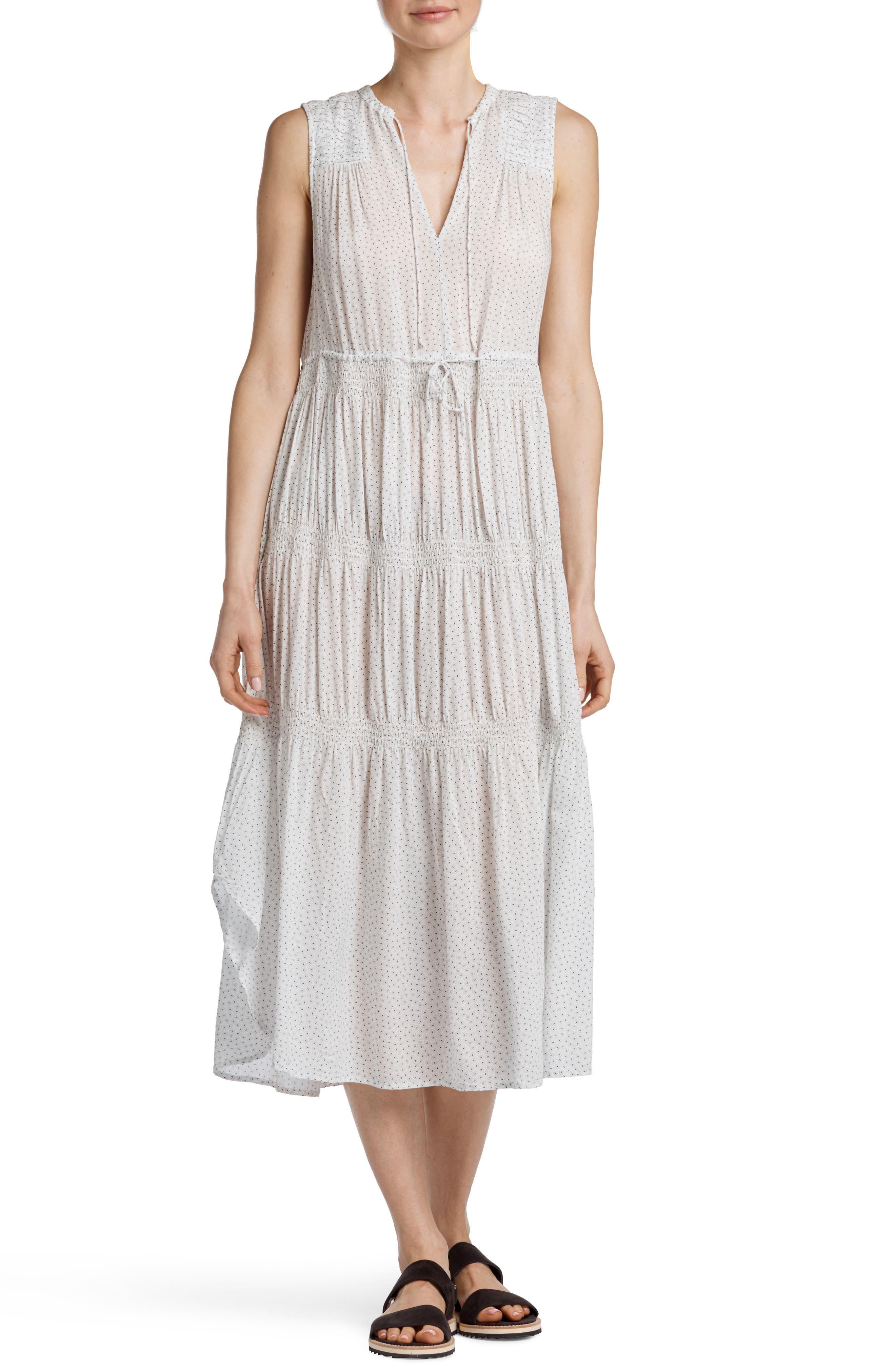 Pleated Midi Dress,                             Main thumbnail 1, color,                             White/ Navy