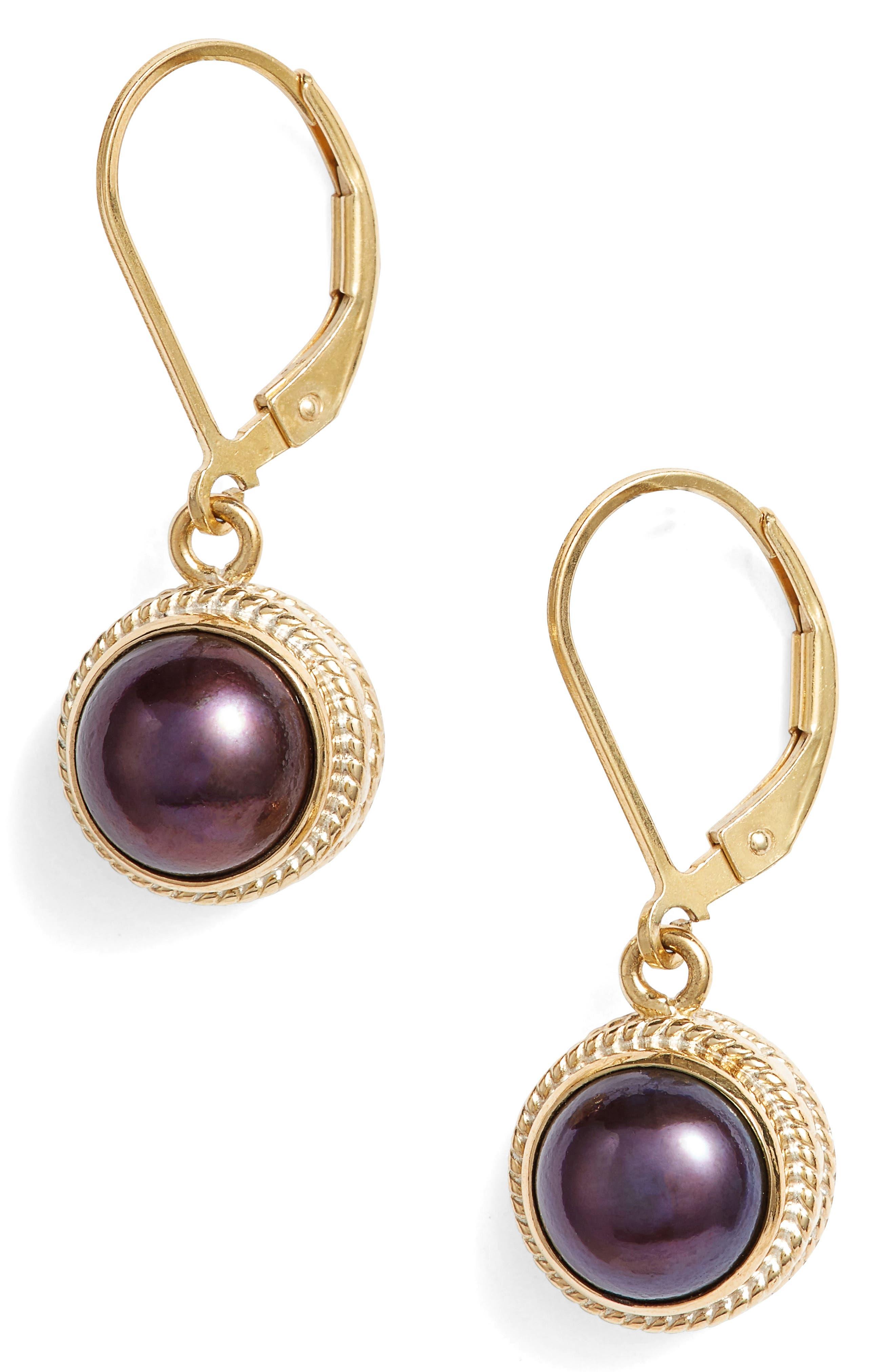 Genuine Blue Pearl Drop Earrings,                         Main,                         color, Gold/ Blue Pearl