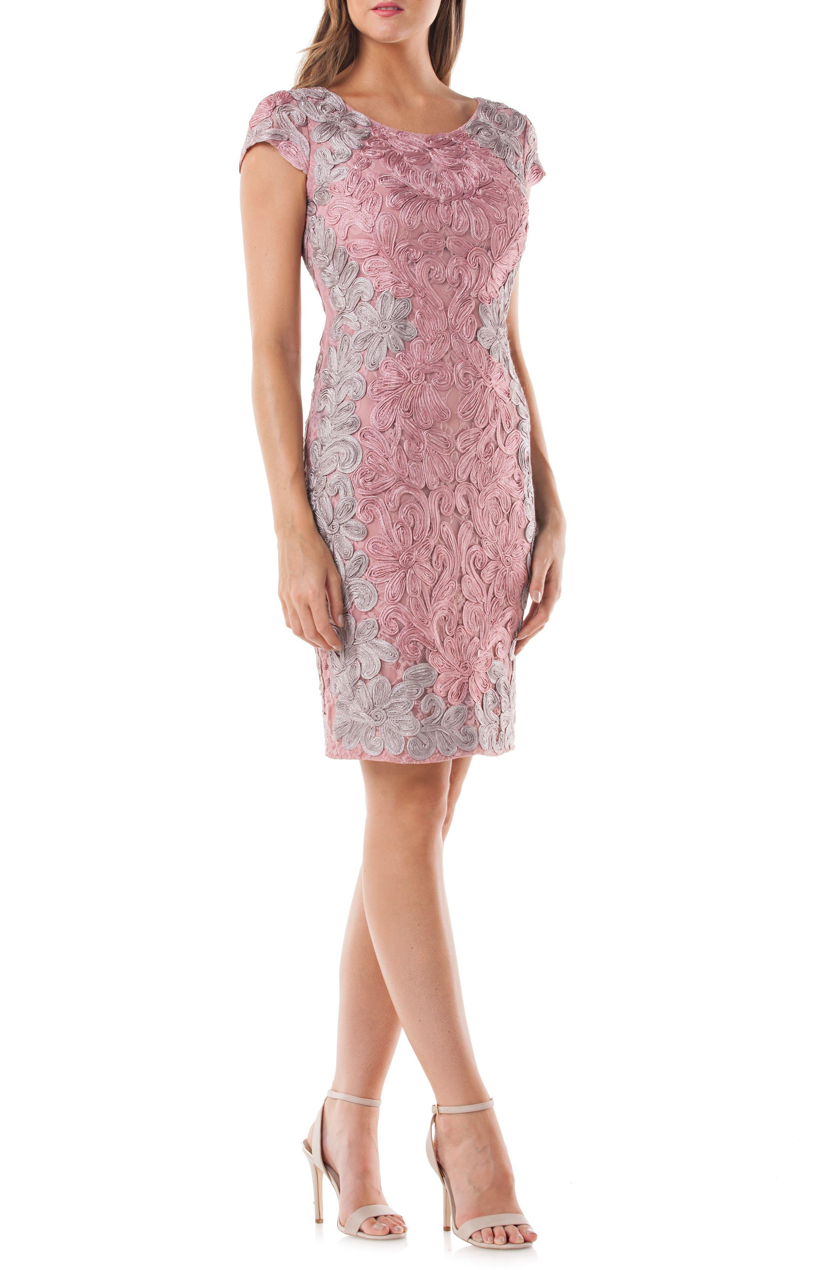 Contrast Soutache Sheath Dress,                             Main thumbnail 1, color,                             Pink/ Taupe