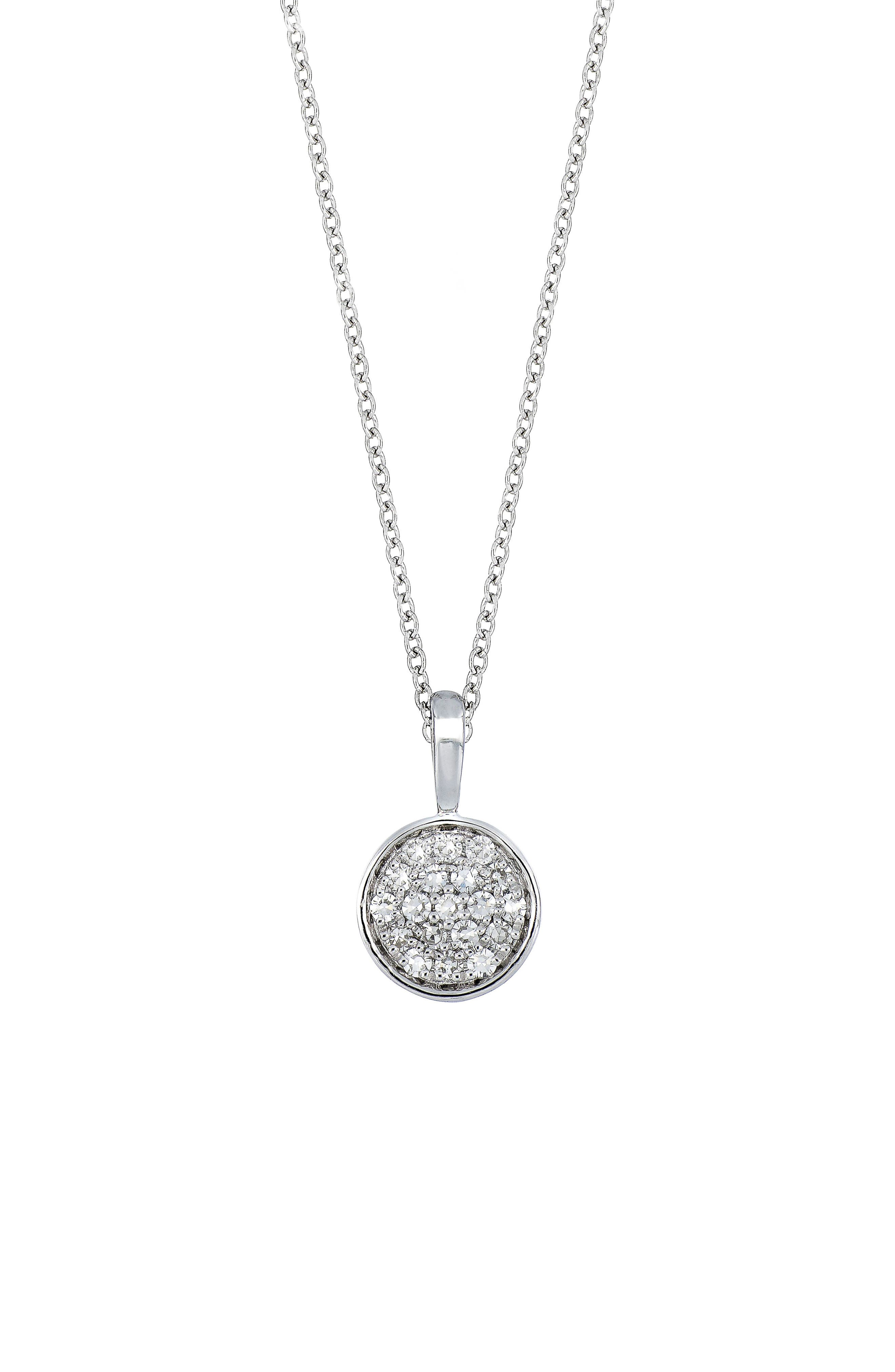 Carrière Diamond Pavè Disc Pendant,                             Main thumbnail 1, color,                             Sterling Silver/ Diamond