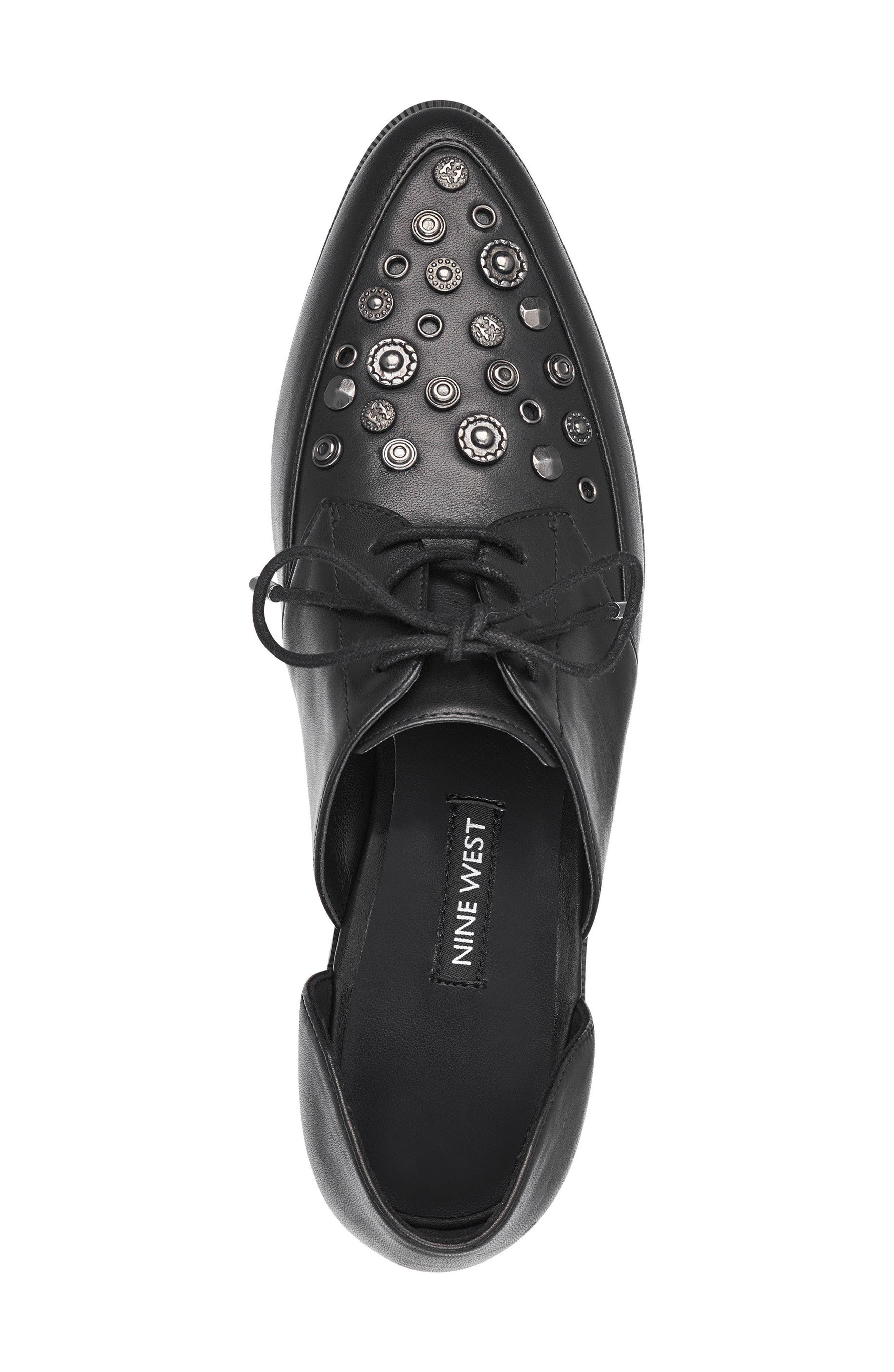 Woahalle Flat,                             Alternate thumbnail 5, color,                             Black Leather