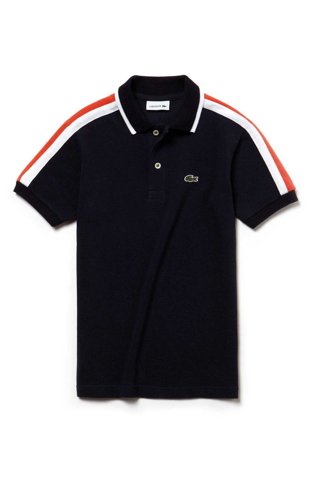 Stripe Polo,                             Main thumbnail 1, color,                             Navy Blue/ White/ Watermelon