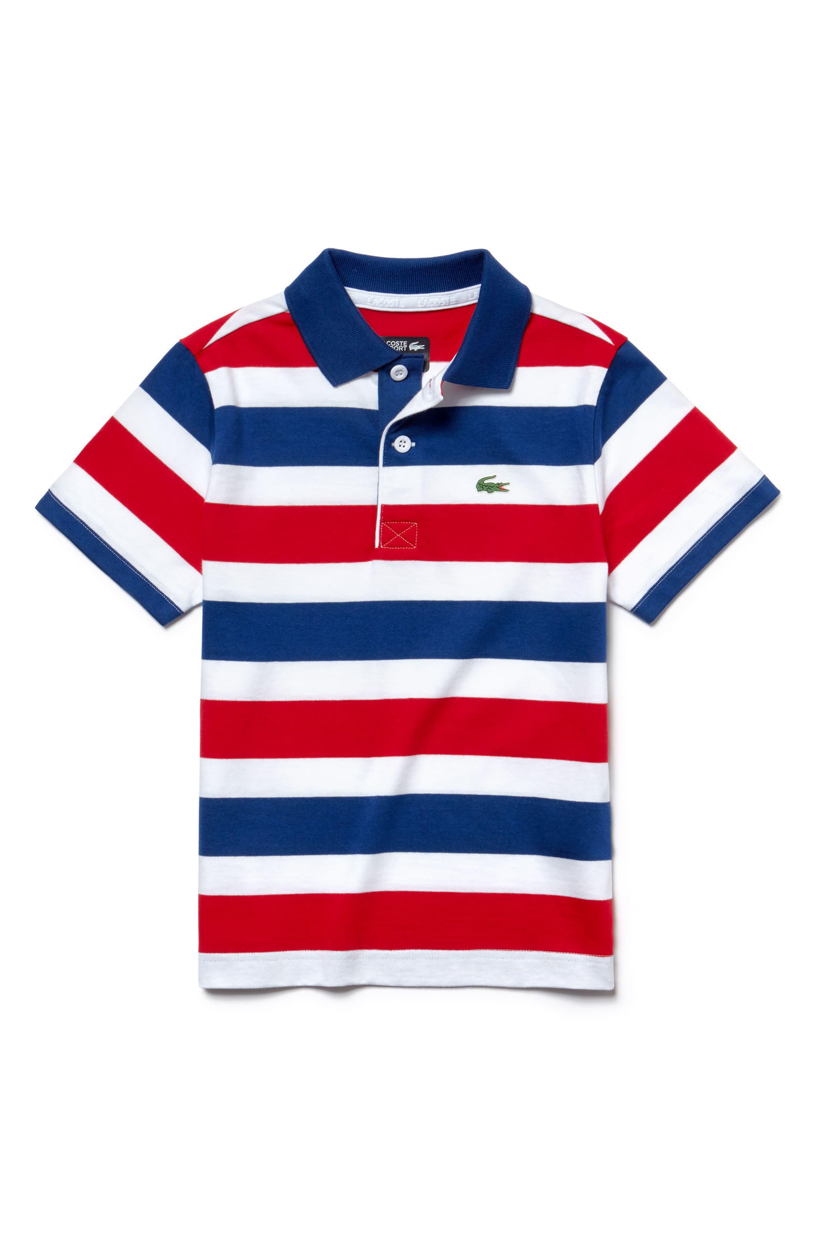 Stripe Jersey Polo,                         Main,                         color, Marino/ White