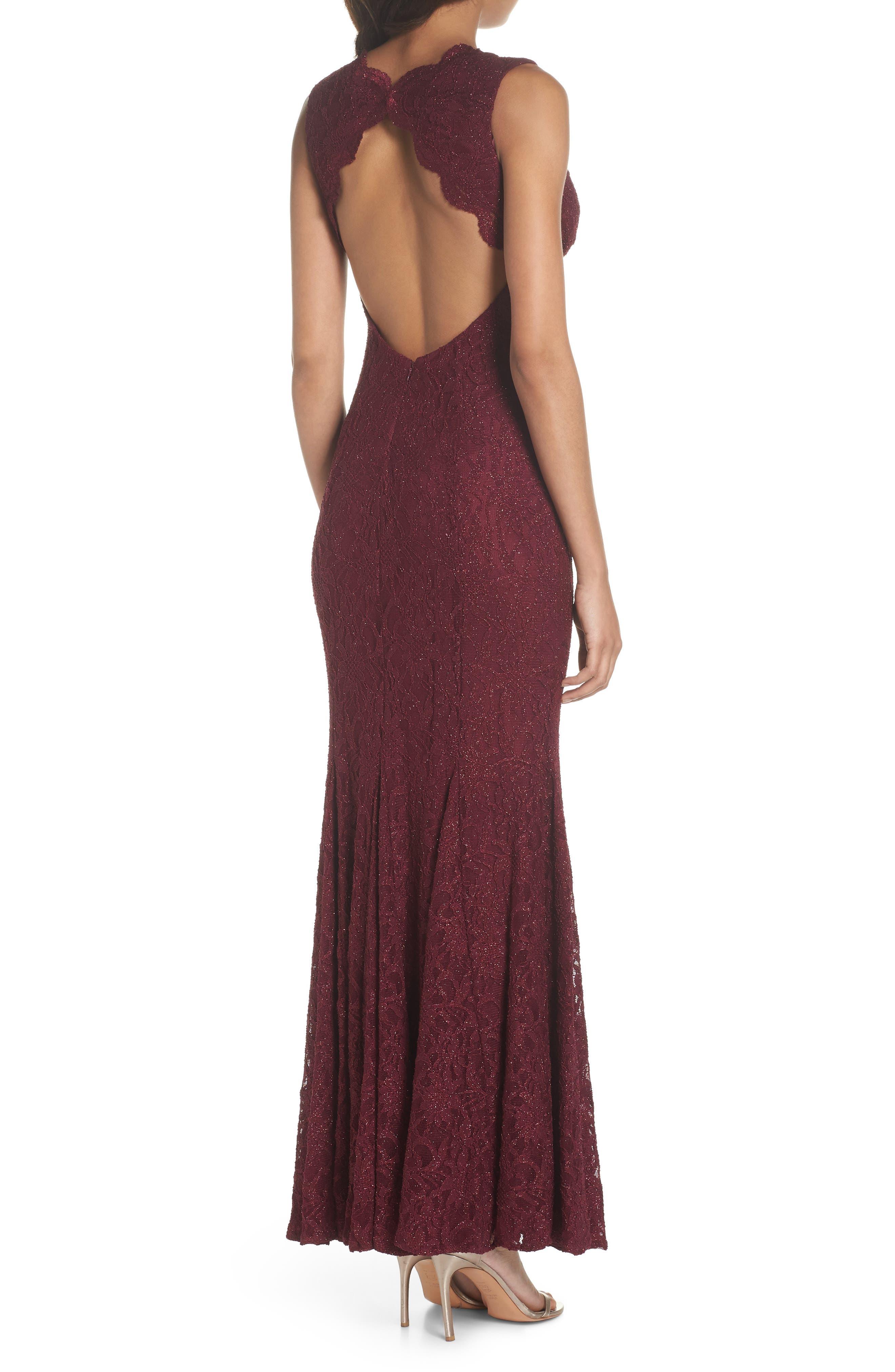 Glitter Lace Gown,                             Alternate thumbnail 2, color,                             Merlot