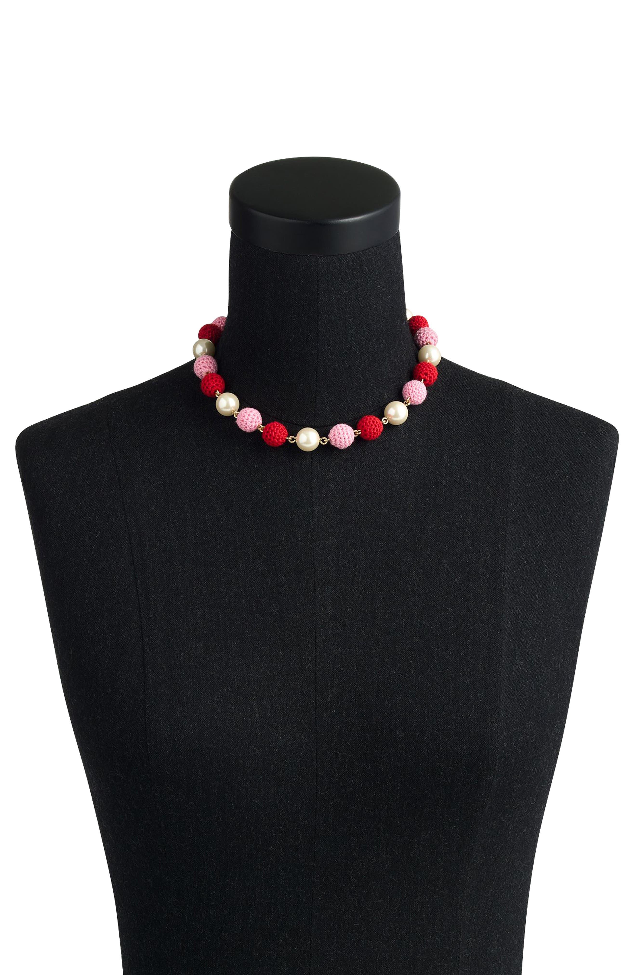 Crochet Bead & Glass Pearl Necklace,                             Alternate thumbnail 2, color,                             Cerise