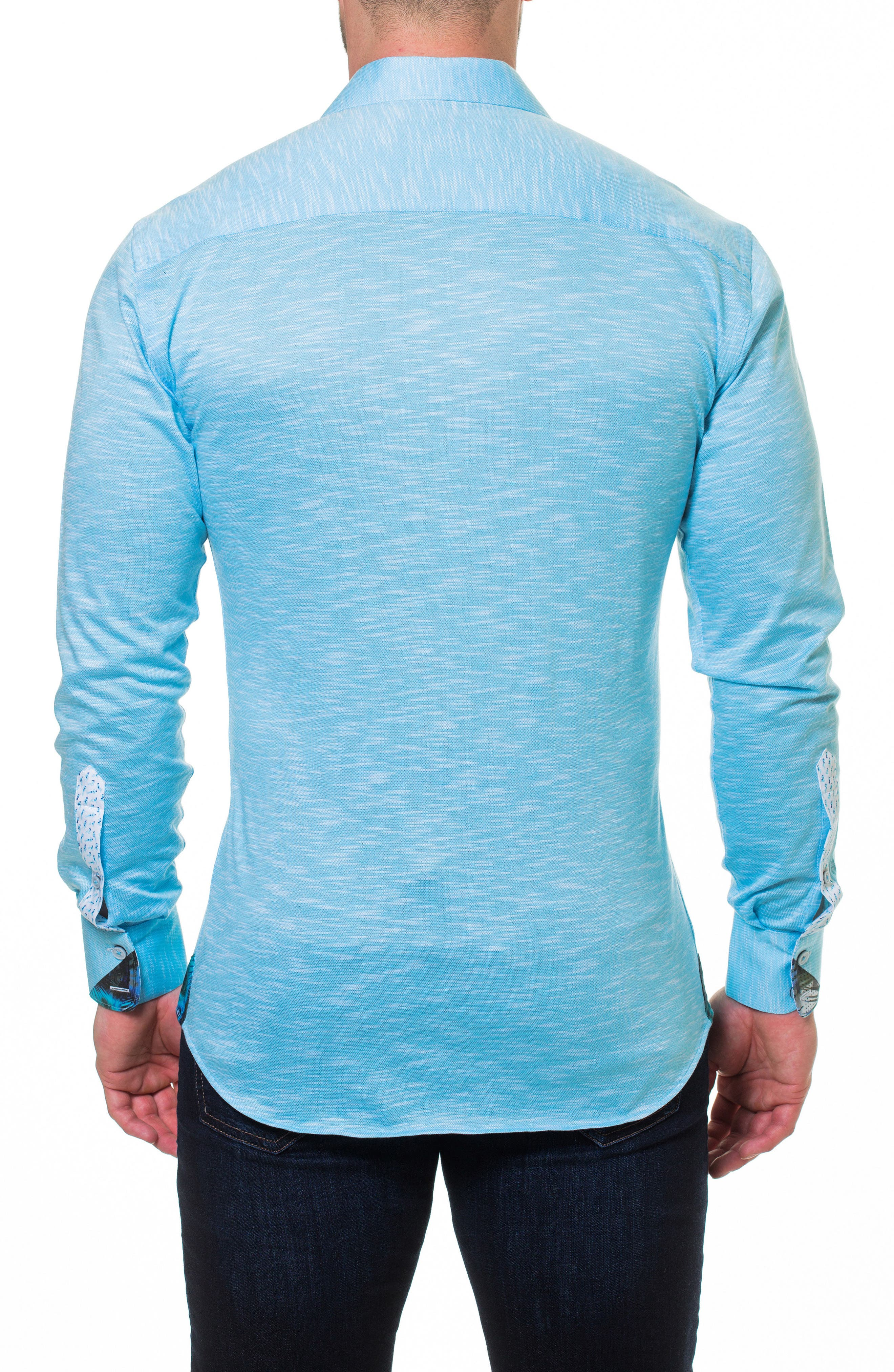 Wall Street Slim Fit Slub Piqué Sport Shirt,                             Alternate thumbnail 2, color,                             Blue