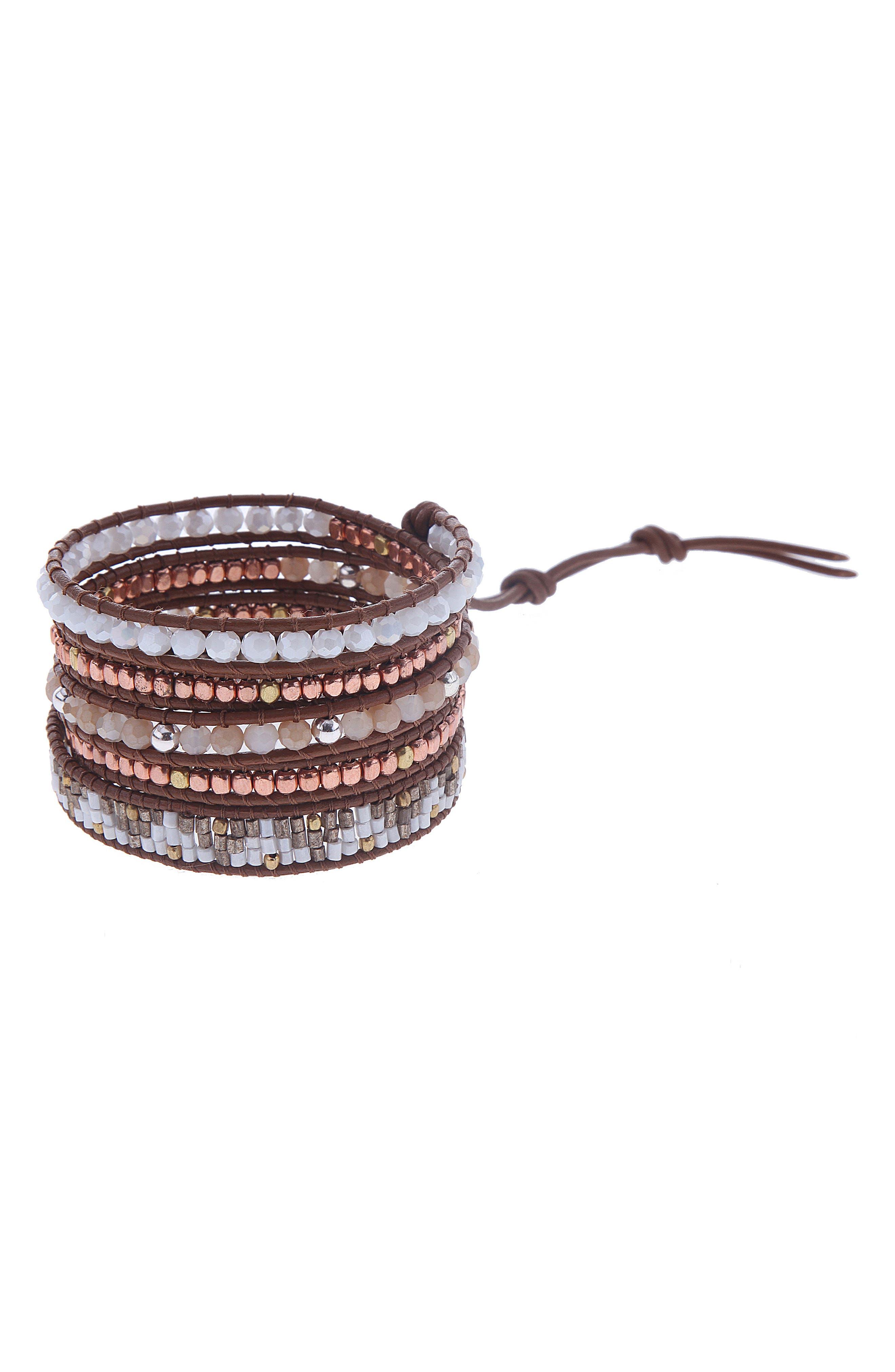 Beaded Wrap Bracelet,                             Main thumbnail 1, color,                             Clear