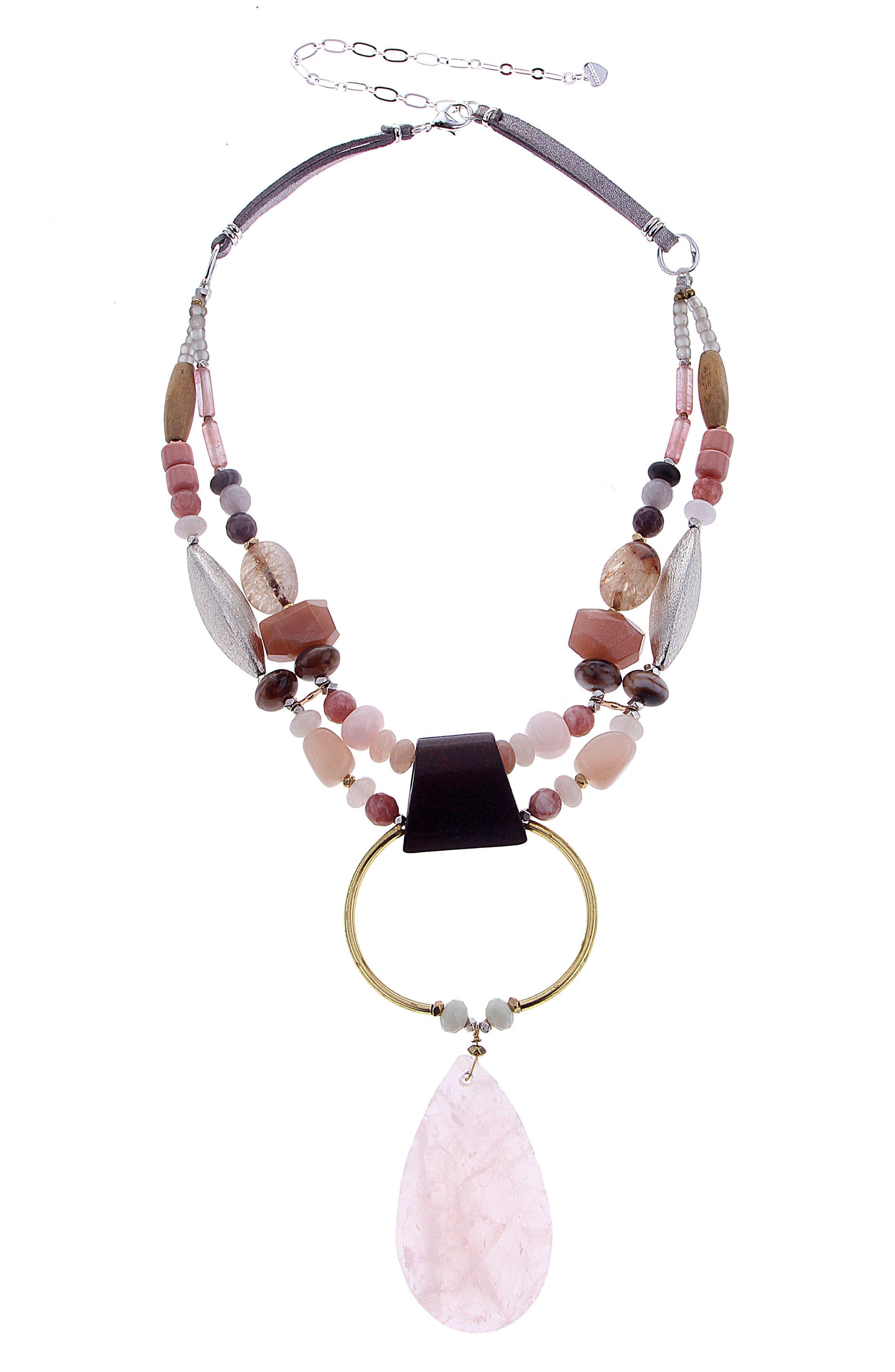 Stone Pendant Necklace,                             Main thumbnail 1, color,                             Peach