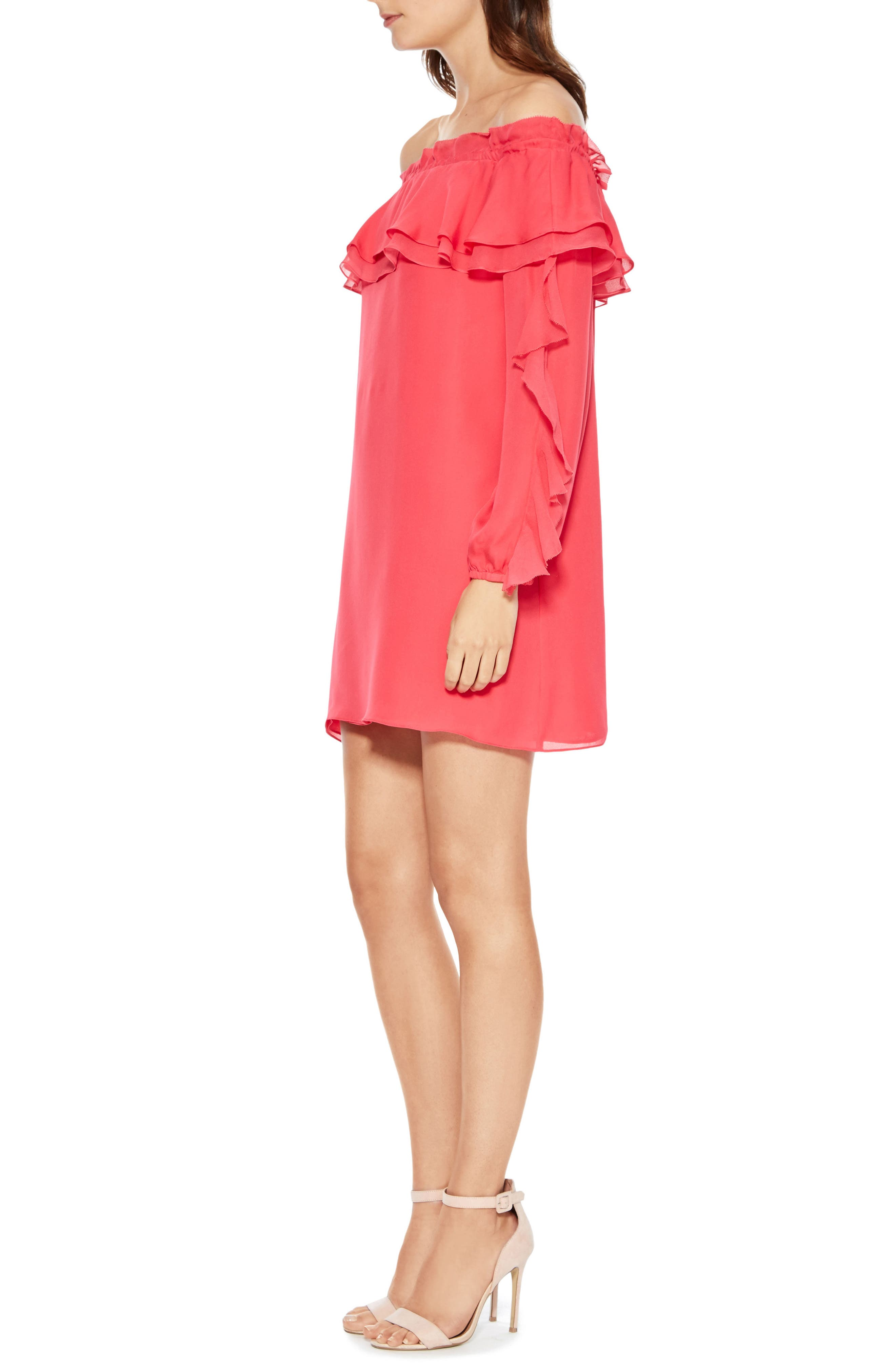 Isa Combo Silk Dress,                             Alternate thumbnail 3, color,                             Prism Pink