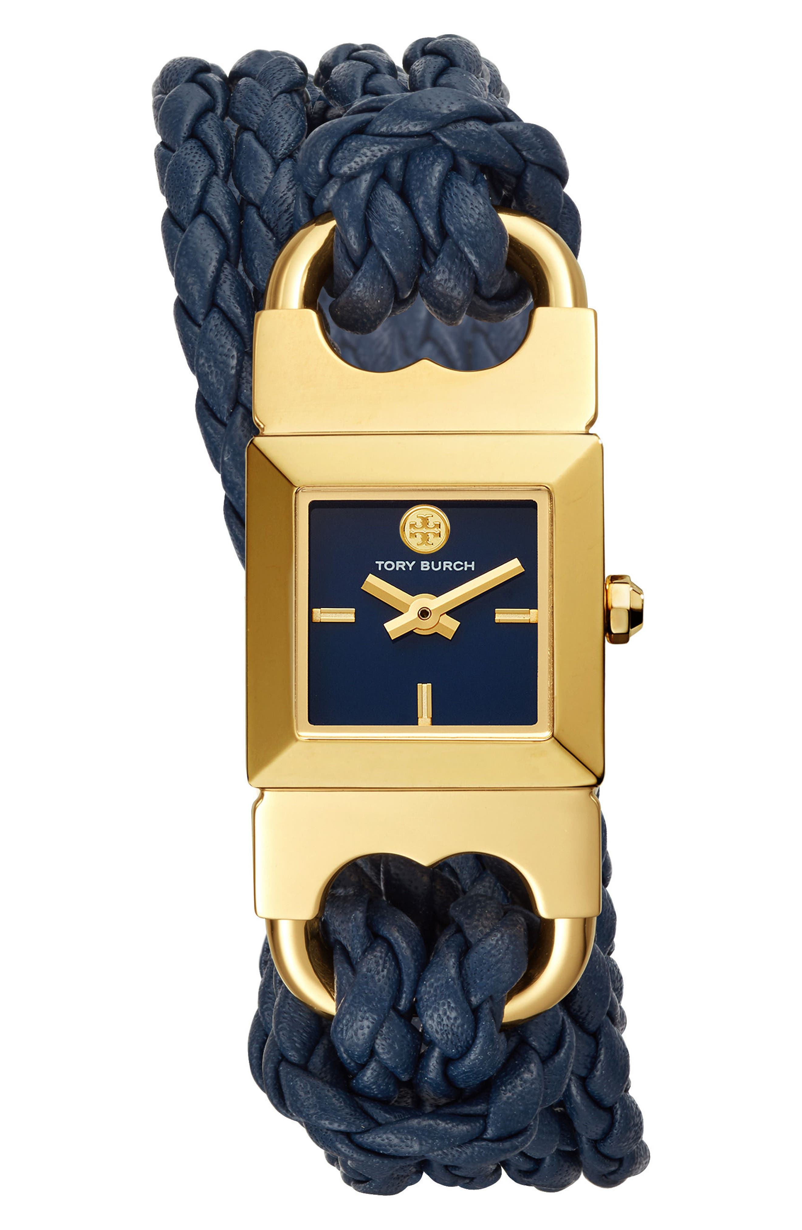 Gemini Link Square Leather Strap Watch, 18mm,                             Main thumbnail 1, color,                             Navy/ Cream/ Gold