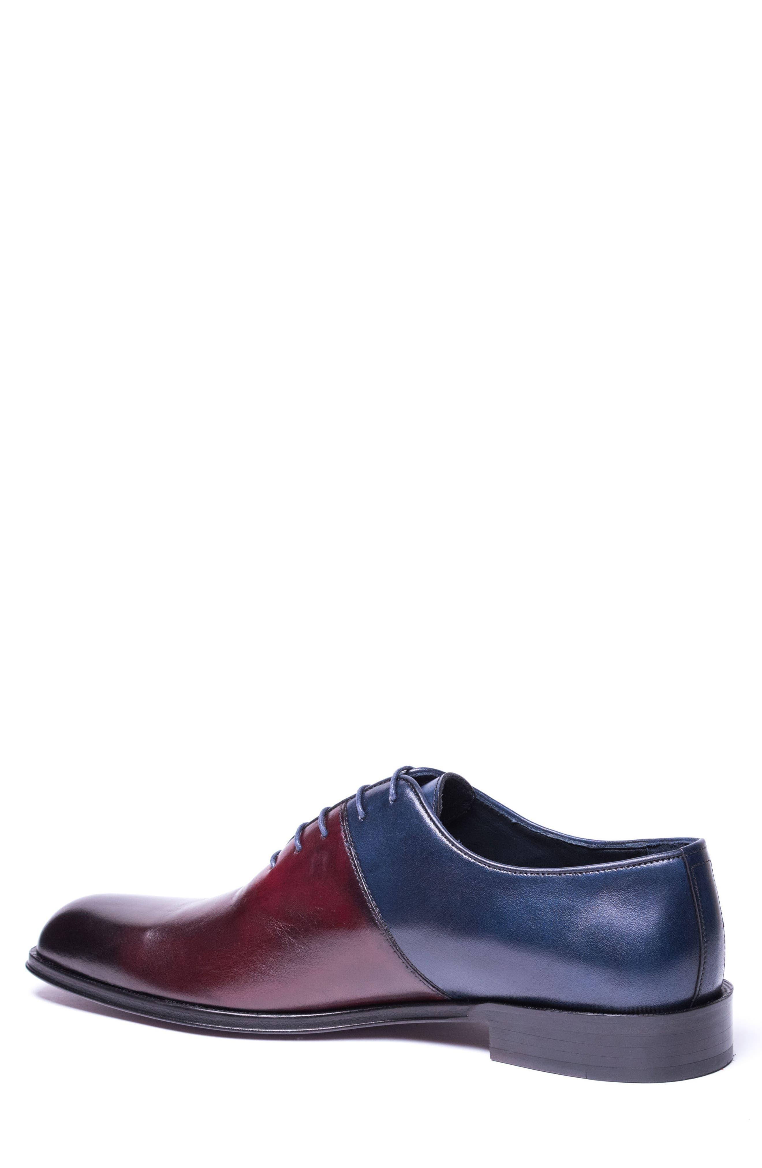 Wyatt Colorblocked Whole Cut Shoe,                             Alternate thumbnail 2, color,                             Burgundy Leather