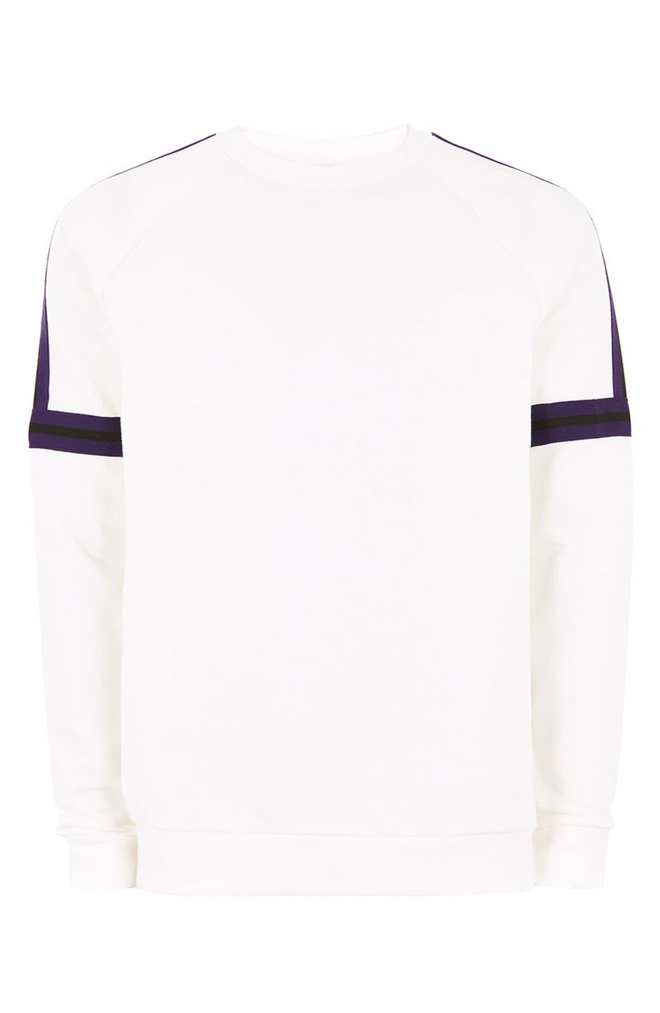 Tape Crewneck Sweatshirt,                             Alternate thumbnail 4, color,                             Cream