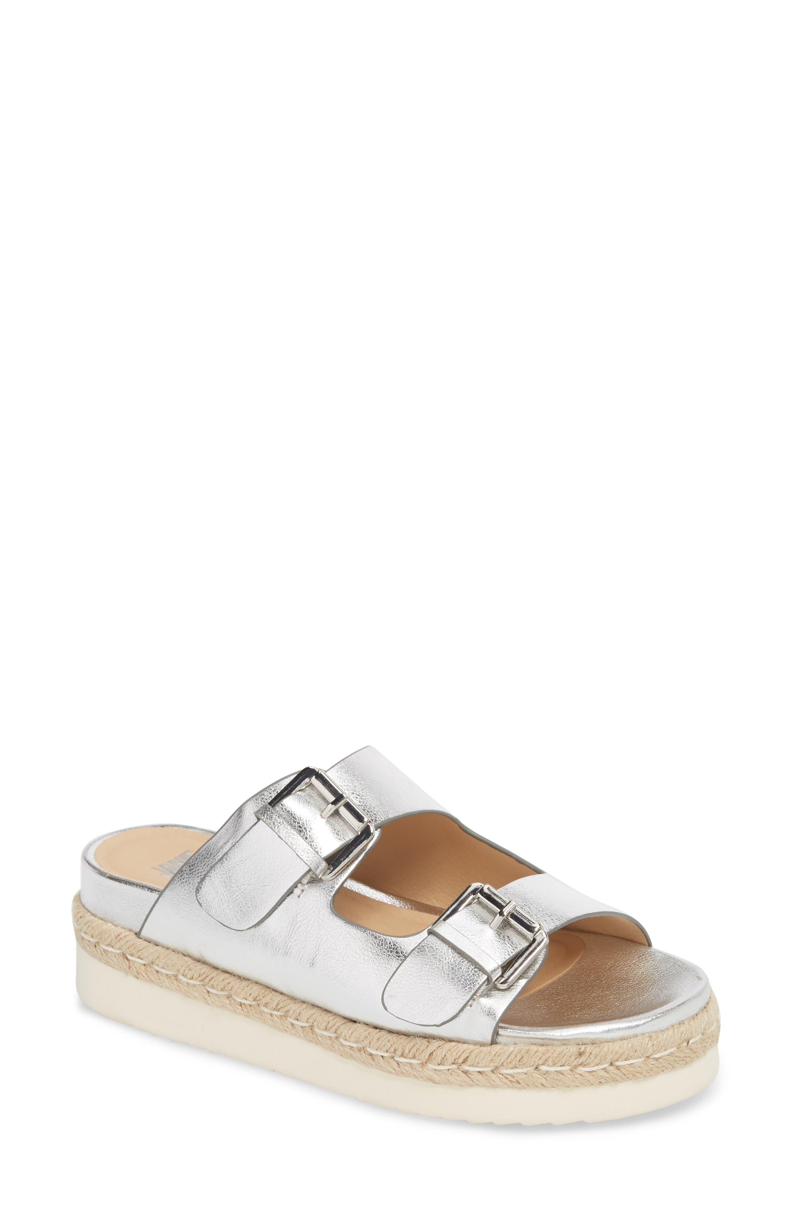 Jojo Two-Buckle Slide Sandal,                         Main,                         color, Silver