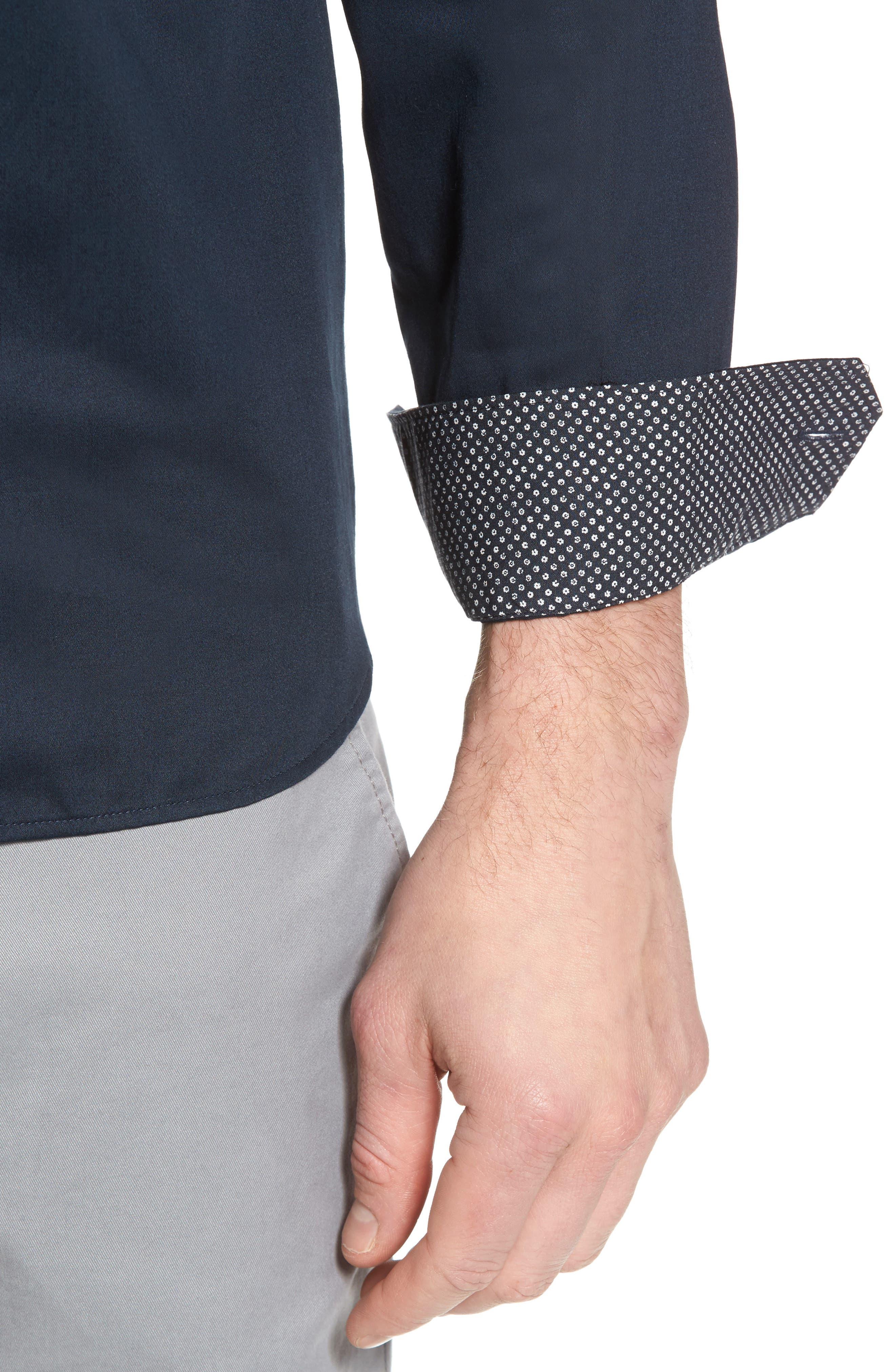 Byllytt Extra Slim Fit Stretch Solid Sport Shirt,                             Alternate thumbnail 2, color,                             Navy