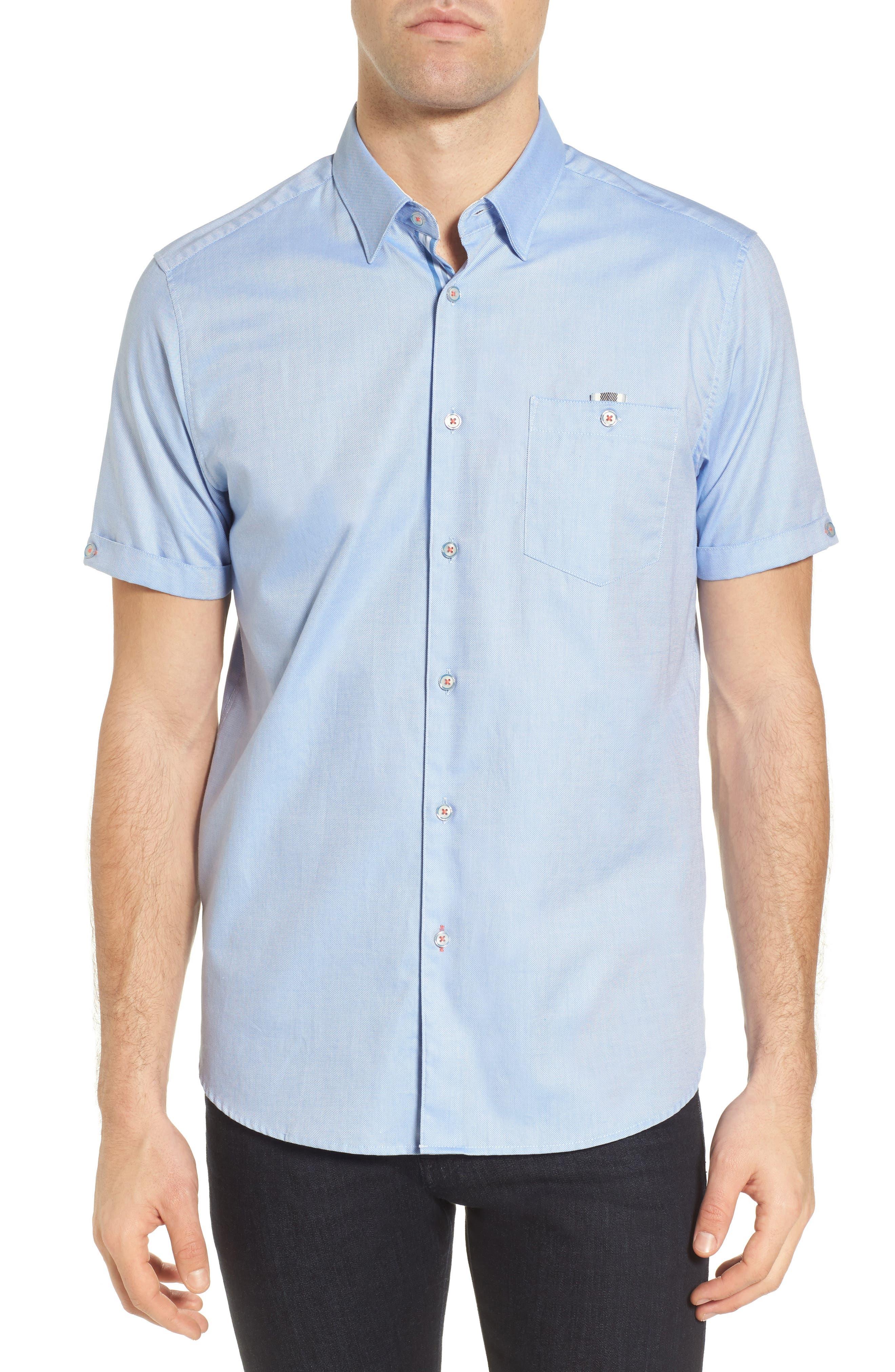 Wallott Extra Slim Fit Short Sleeve Sport Shirt,                             Main thumbnail 1, color,                             Blue