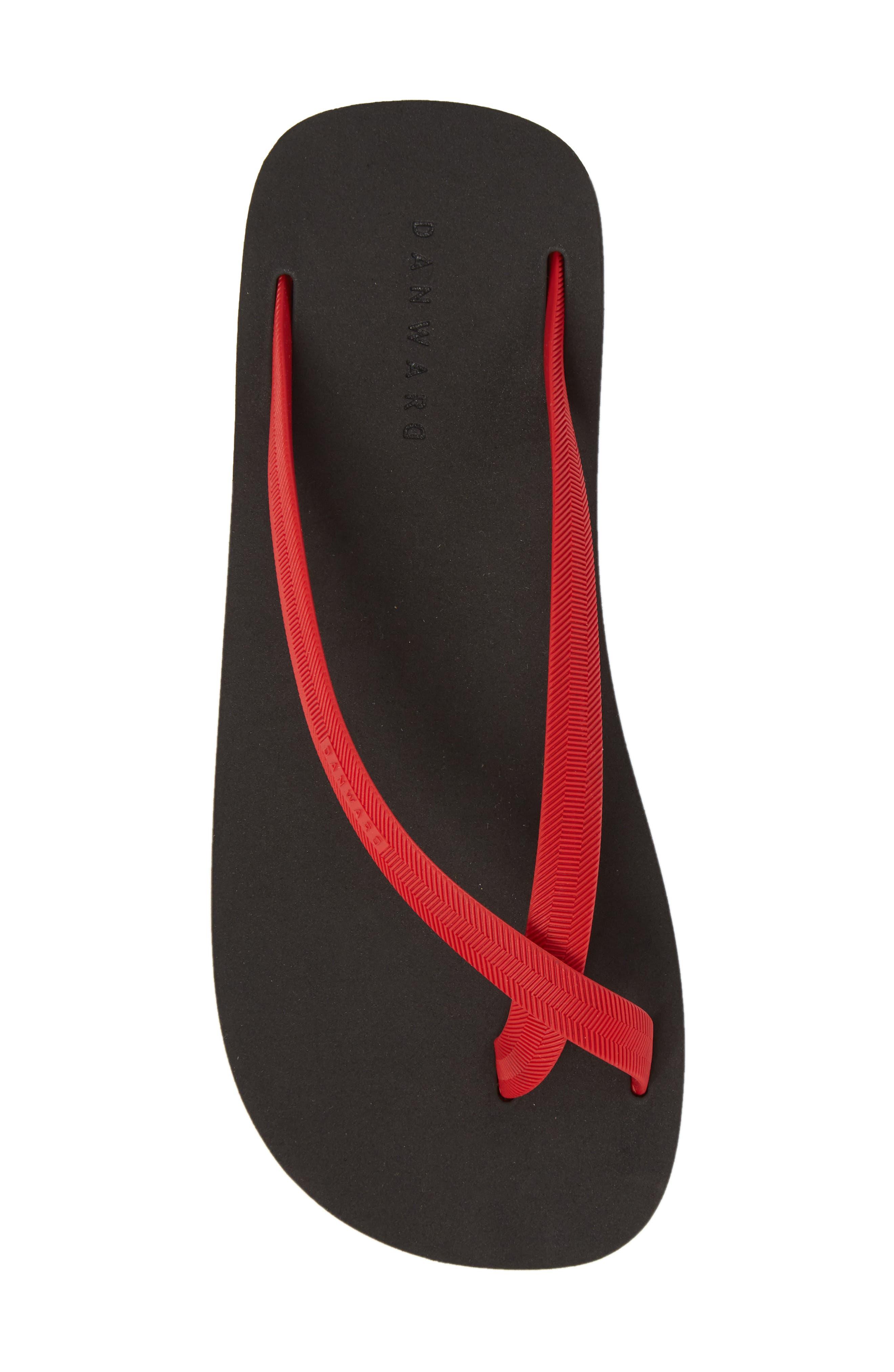 Cross Toe Flip Flop,                             Alternate thumbnail 5, color,                             Red/ Black