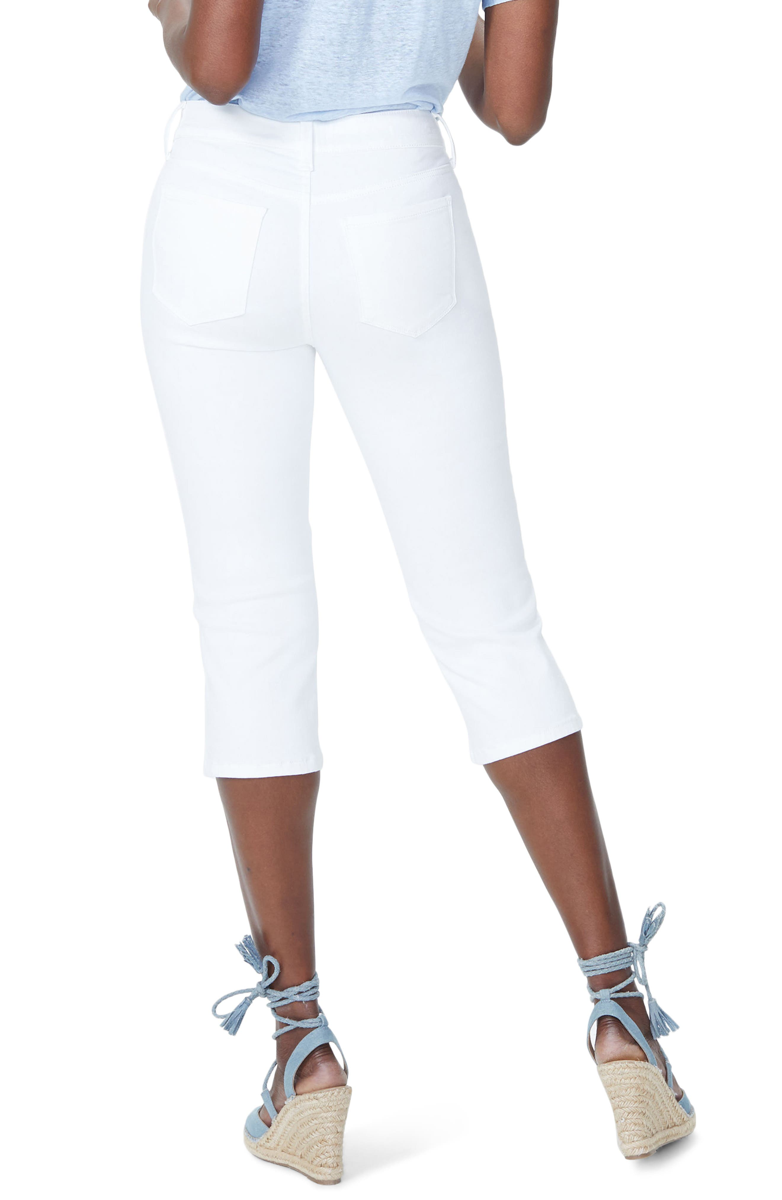 Marilyn Eyelet Hem Stretch Crop Jeans,                             Alternate thumbnail 3, color,                             Optic White