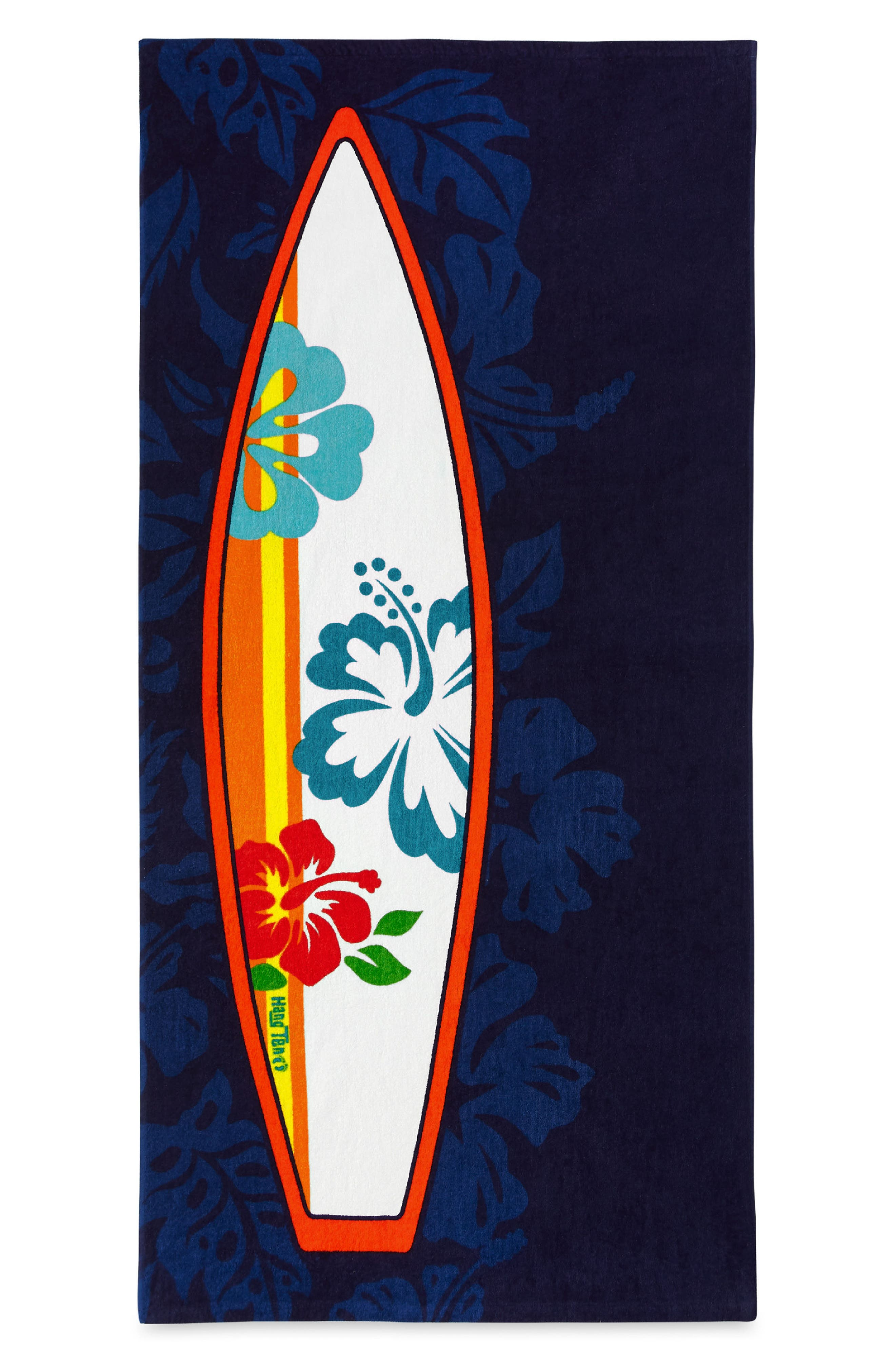 Hibiscus Surfboard Beach Towel,                         Main,                         color, Navy