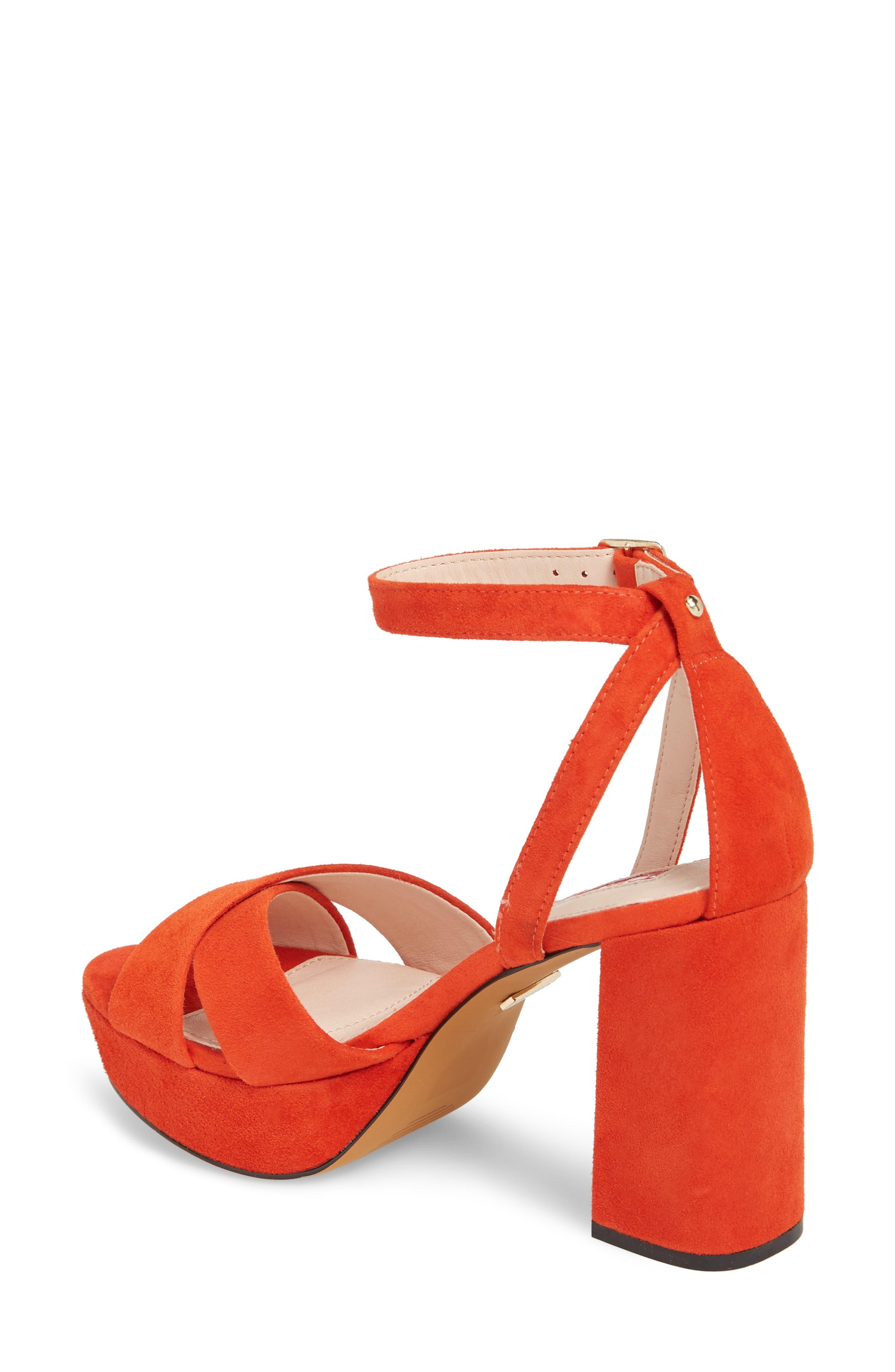Leah Cross Strap Platform Sandal,                             Alternate thumbnail 2, color,                             Orange