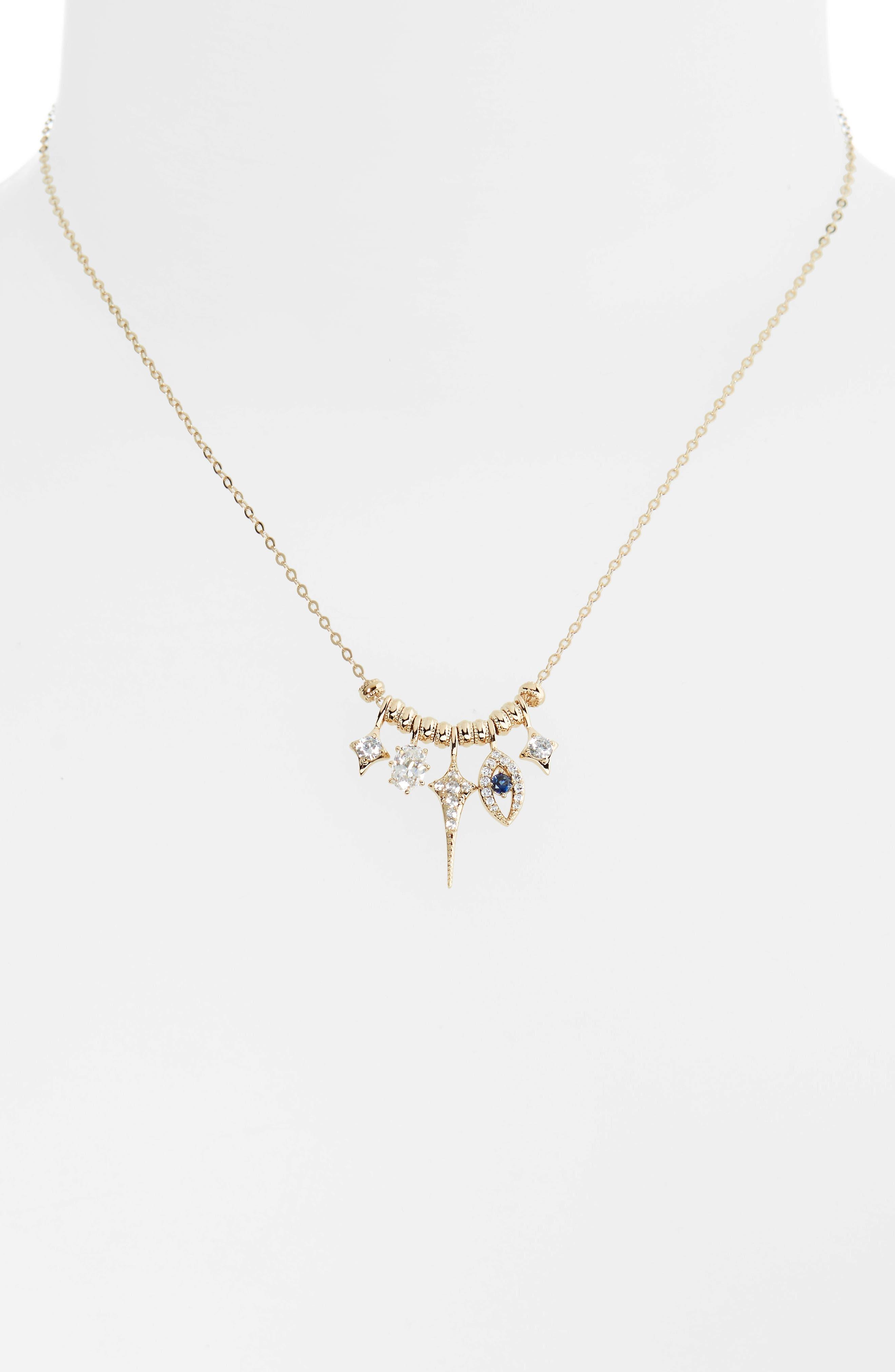 Nazar Evil Eye Charm Necklace,                         Main,                         color, Gold