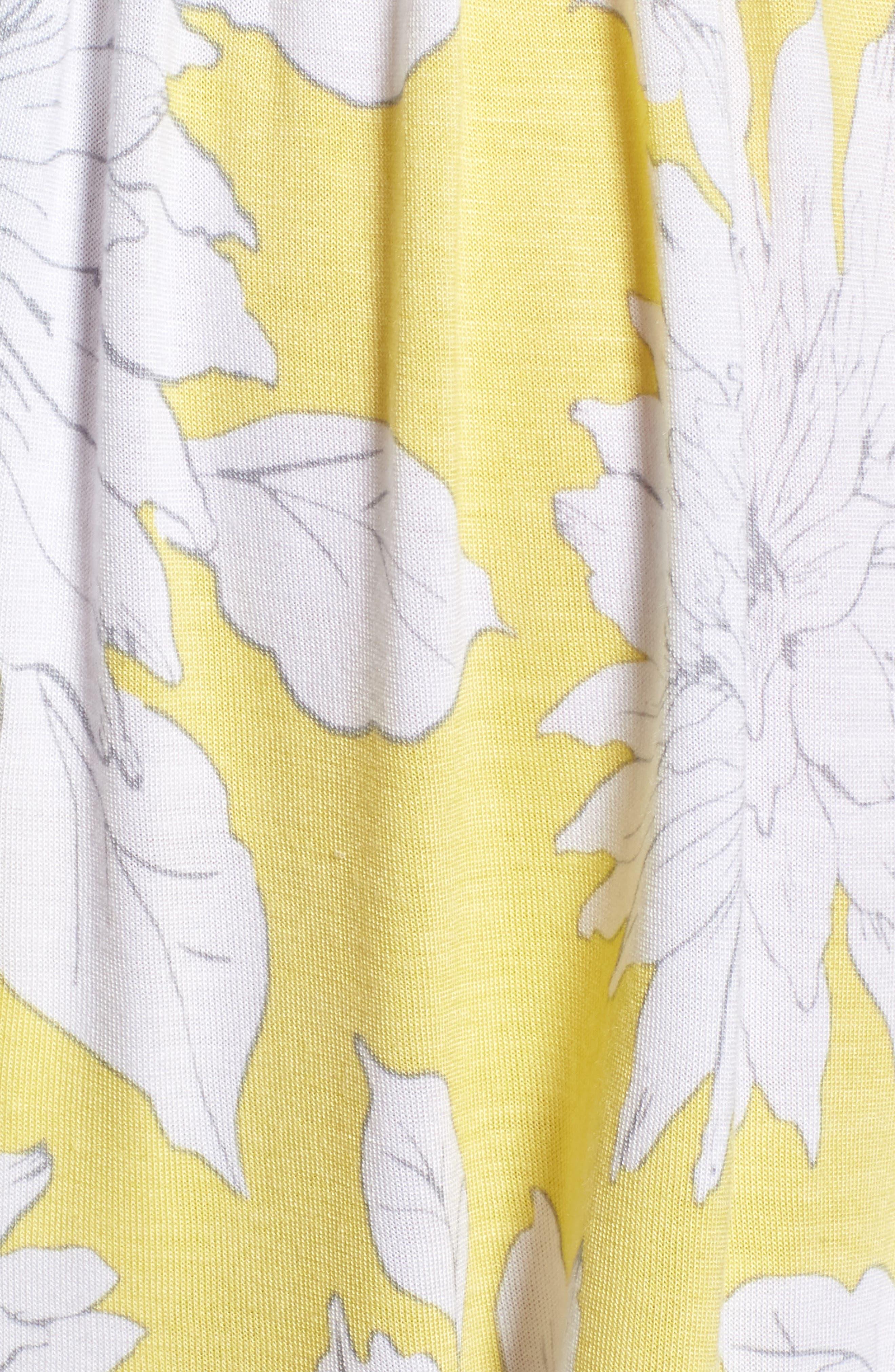 Print Wide Leg Shorts,                             Alternate thumbnail 5, color,                             Yellow Glow Grunge Floral