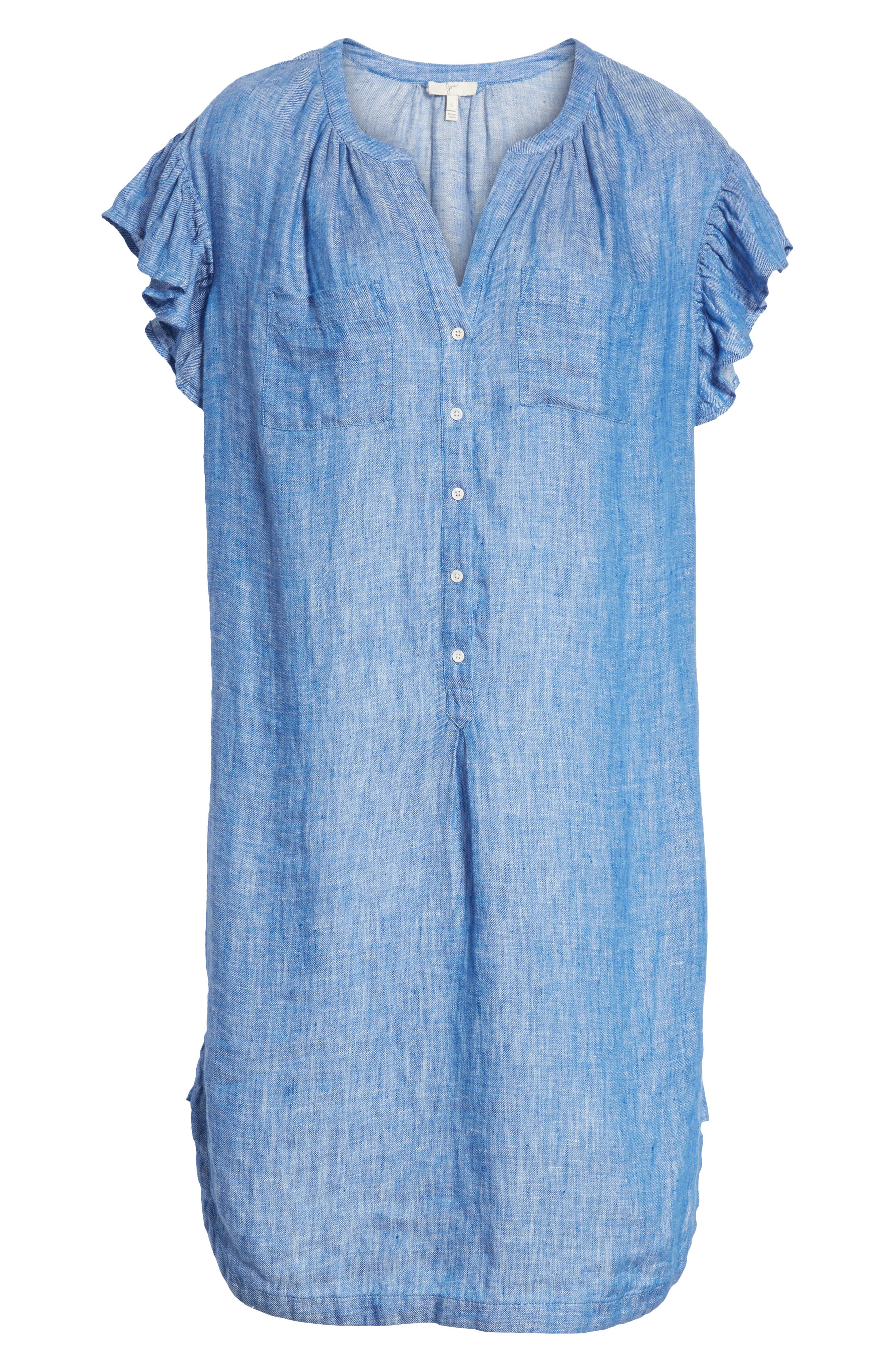 Fermina Ruffle Sleeve Linen Dress,                             Alternate thumbnail 6, color,                             Surf Break