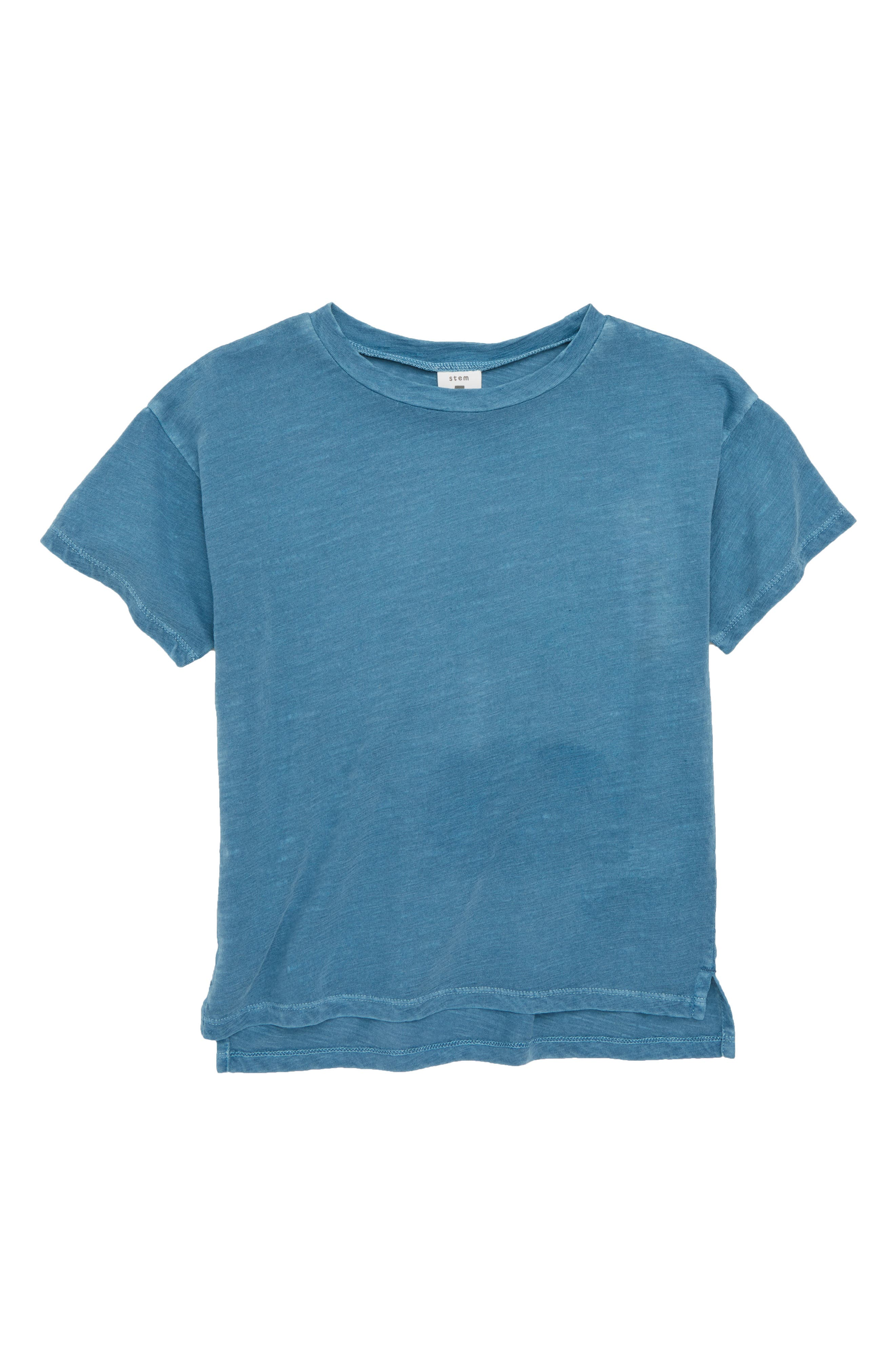 Short Sleeve Cotton T-Shirt,                         Main,                         color, Blue Stellar