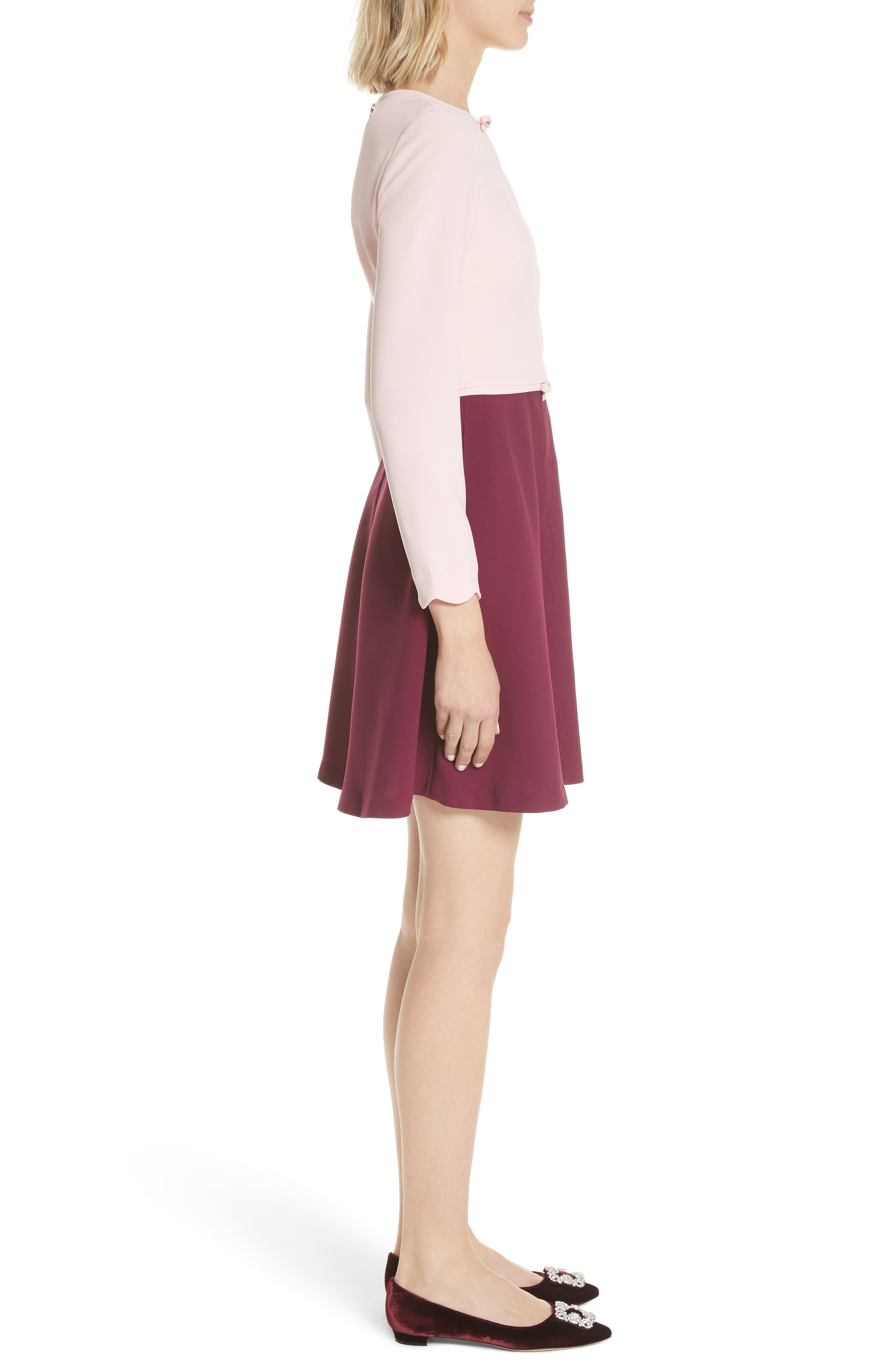 Scalloped A-Line Dress,                             Alternate thumbnail 3, color,                             Dusky Pink