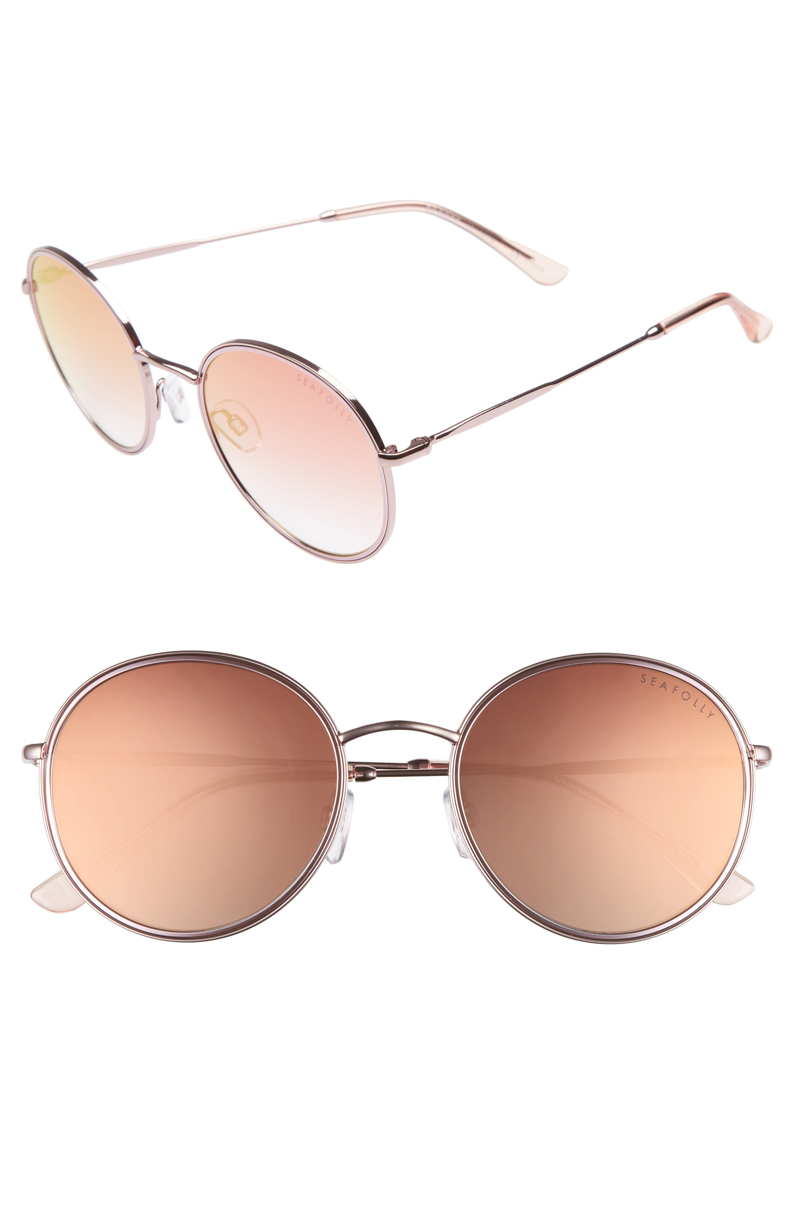Coogee 54mm Round Sunglasses,                         Main,                         color, Rose