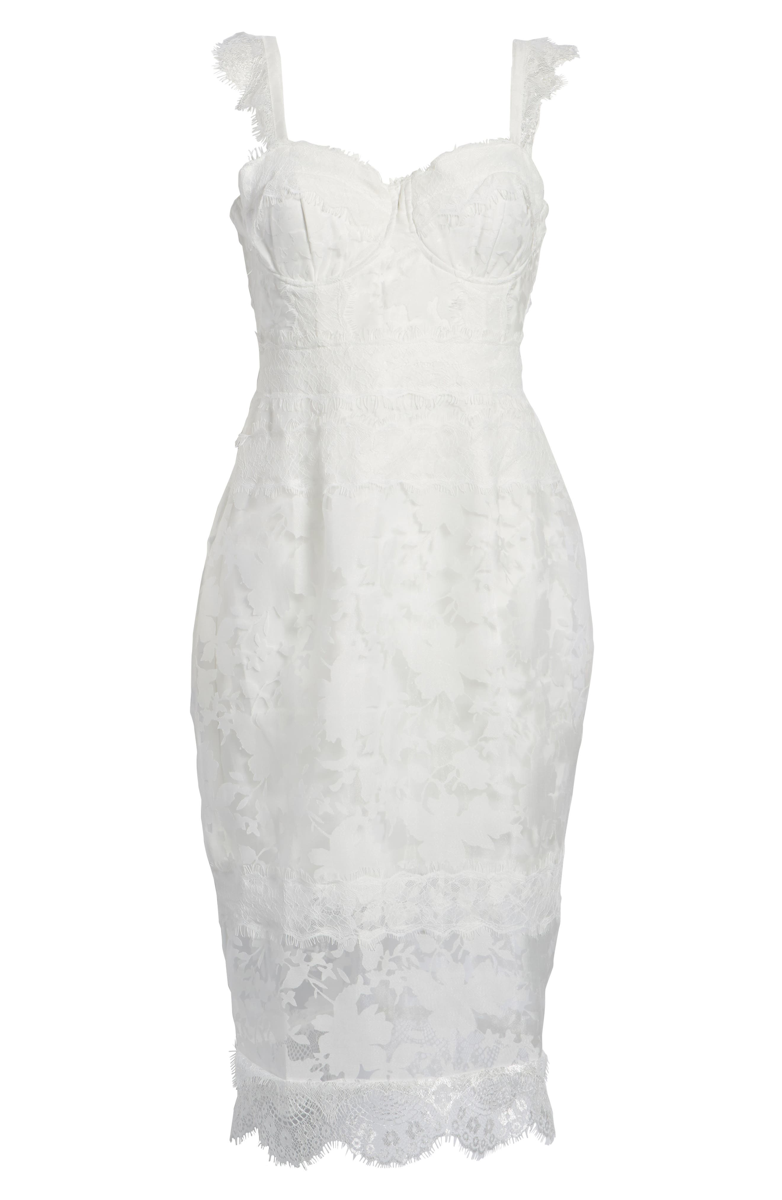 Organza Lace Sheath Dress,                             Alternate thumbnail 7, color,                             Ivory