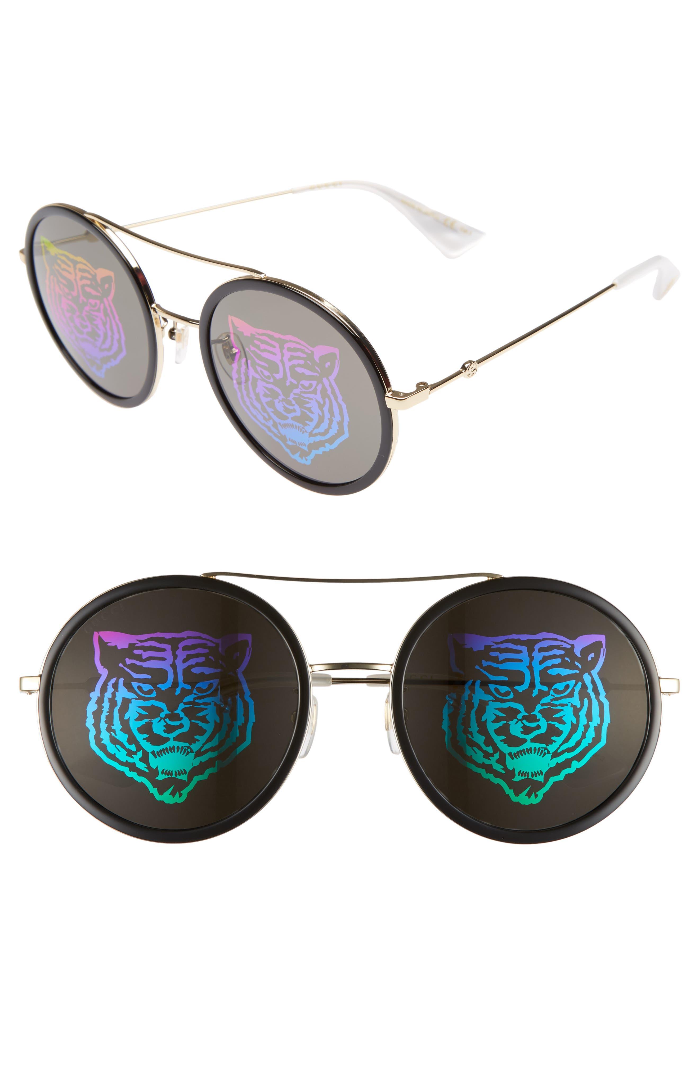 Web Block Hologram 56mm Round Sunglasses,                             Main thumbnail 1, color,                             Gold/ Pearl