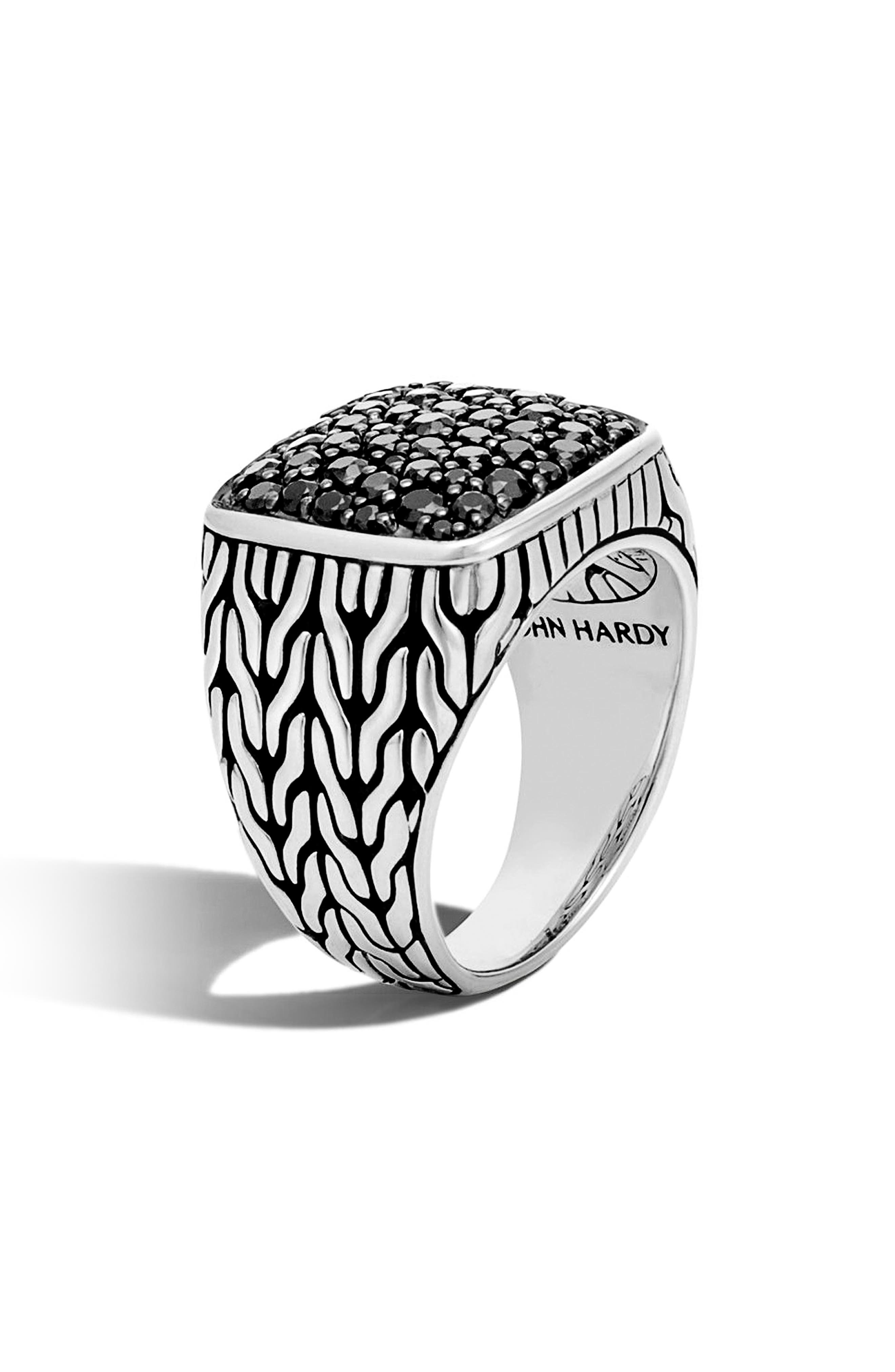 Classic Chain Silver Signet Ring,                         Main,                         color, Silver/ Black Sapphire