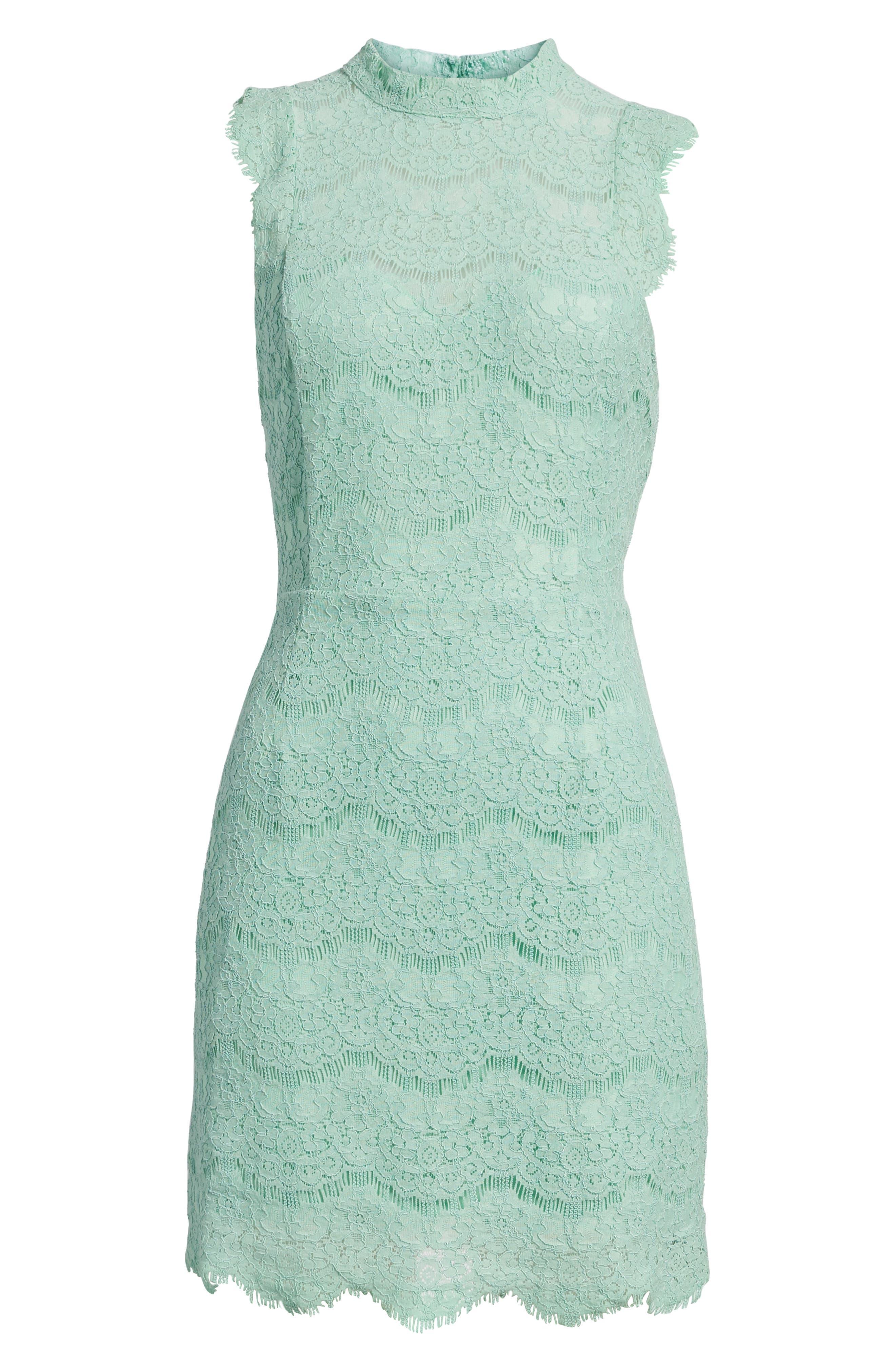 Lace Body-Con Minidress,                             Alternate thumbnail 7, color,                             Lichen