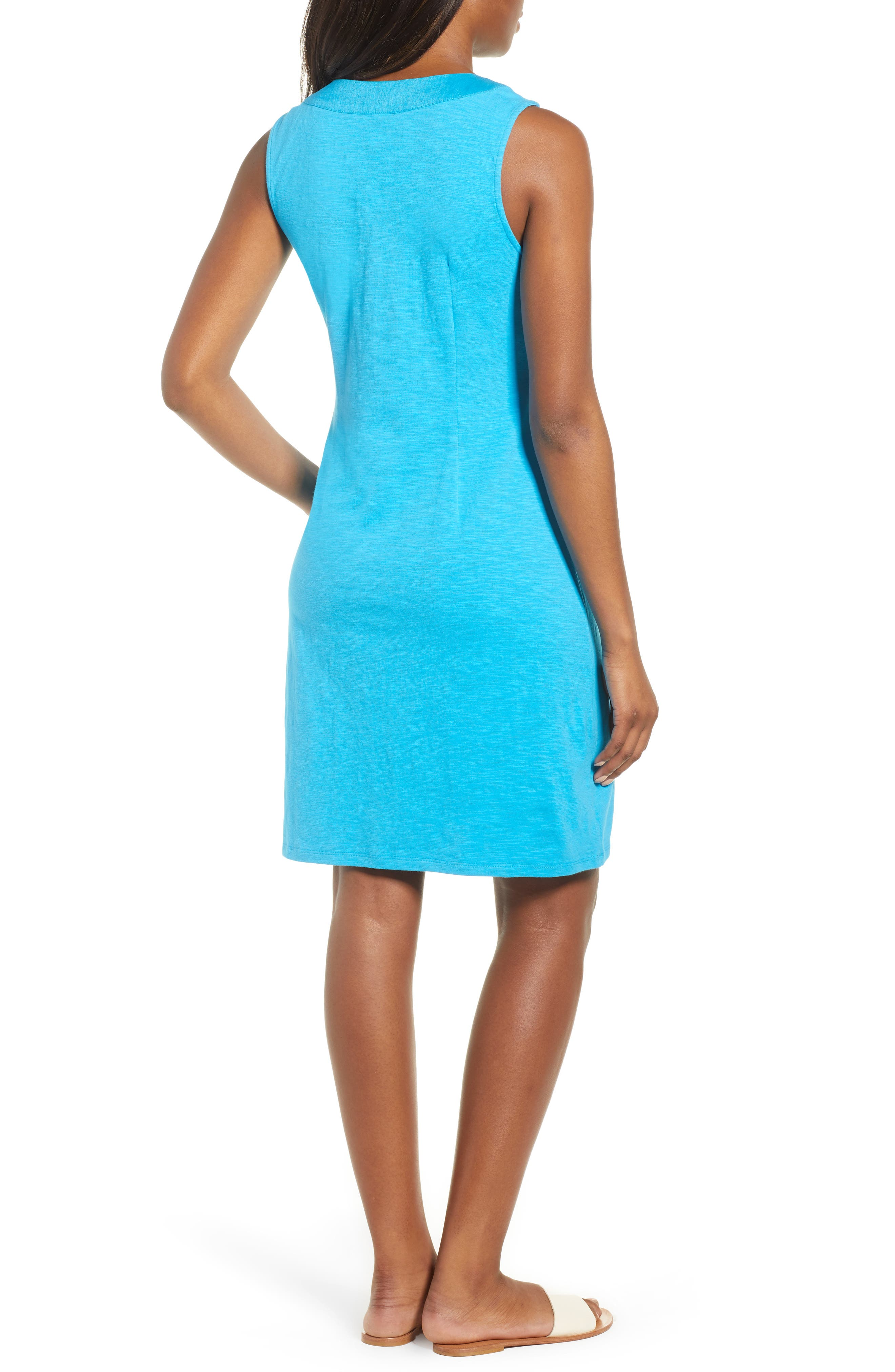 Lace-Up Shift Dress,                             Alternate thumbnail 2, color,                             Pool Party