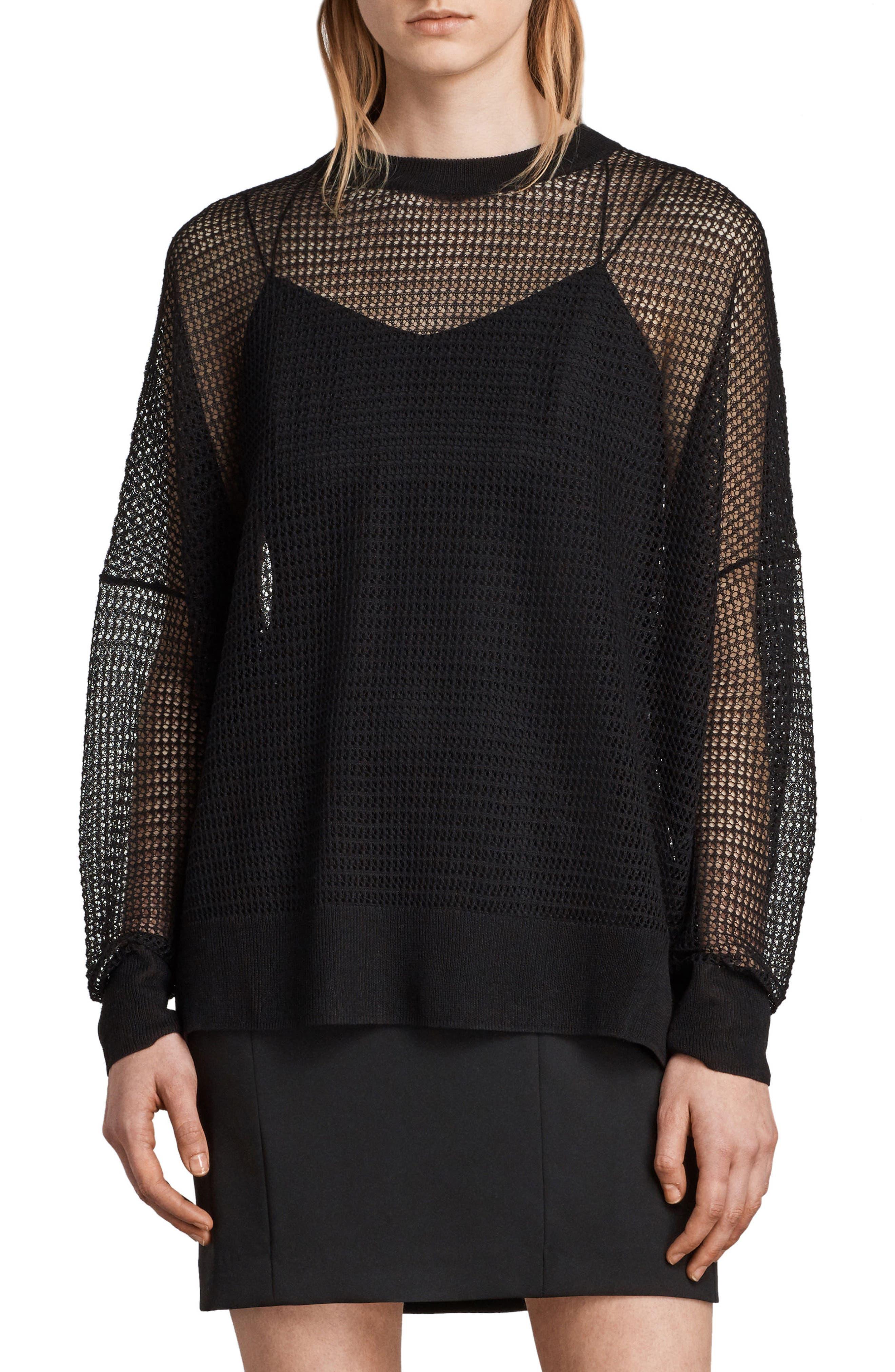 Rizo Openwork Sweater,                         Main,                         color, Black