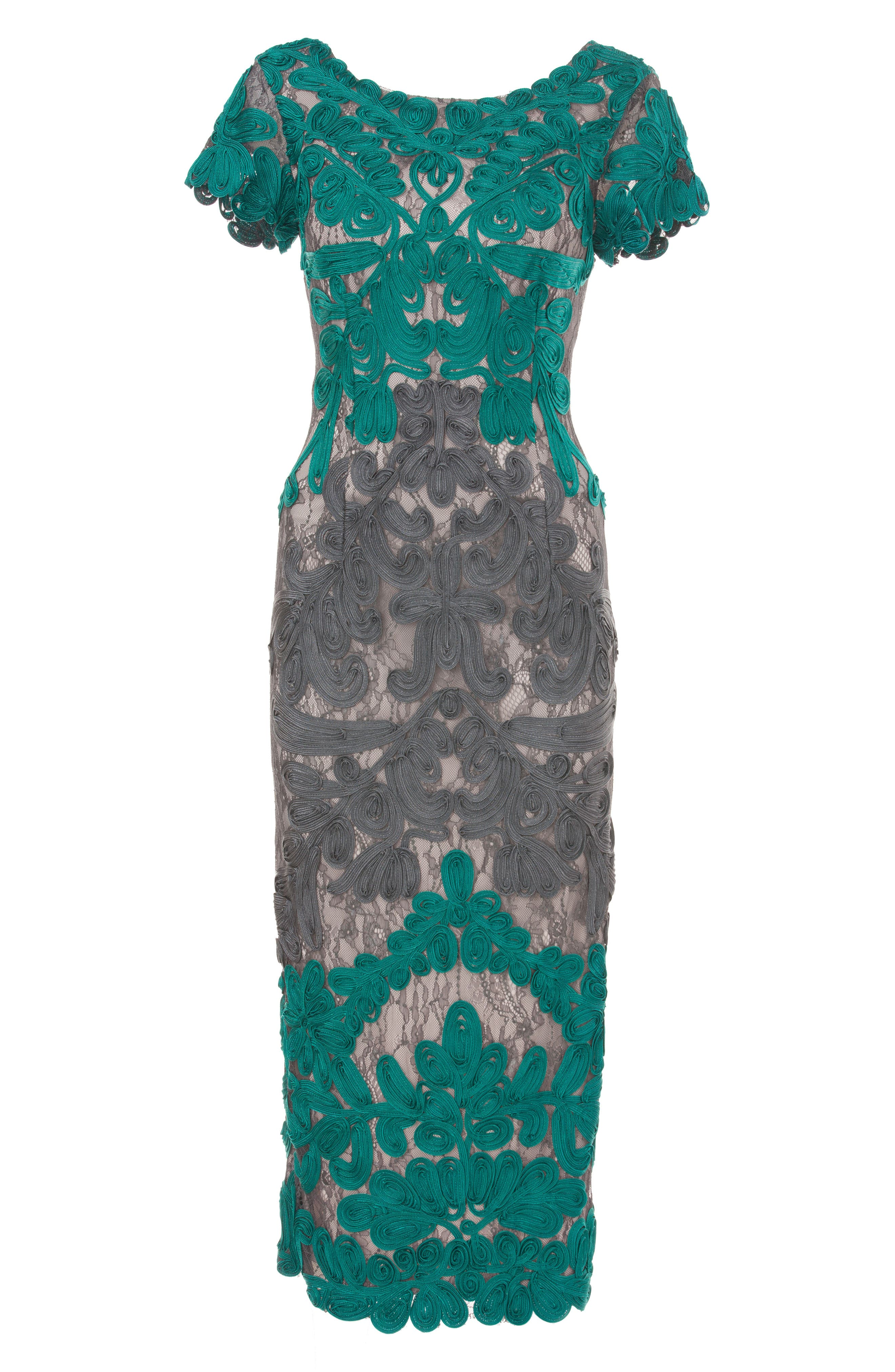Soutache Lace Midi Dress,                             Alternate thumbnail 4, color,                             Teal/ Grey