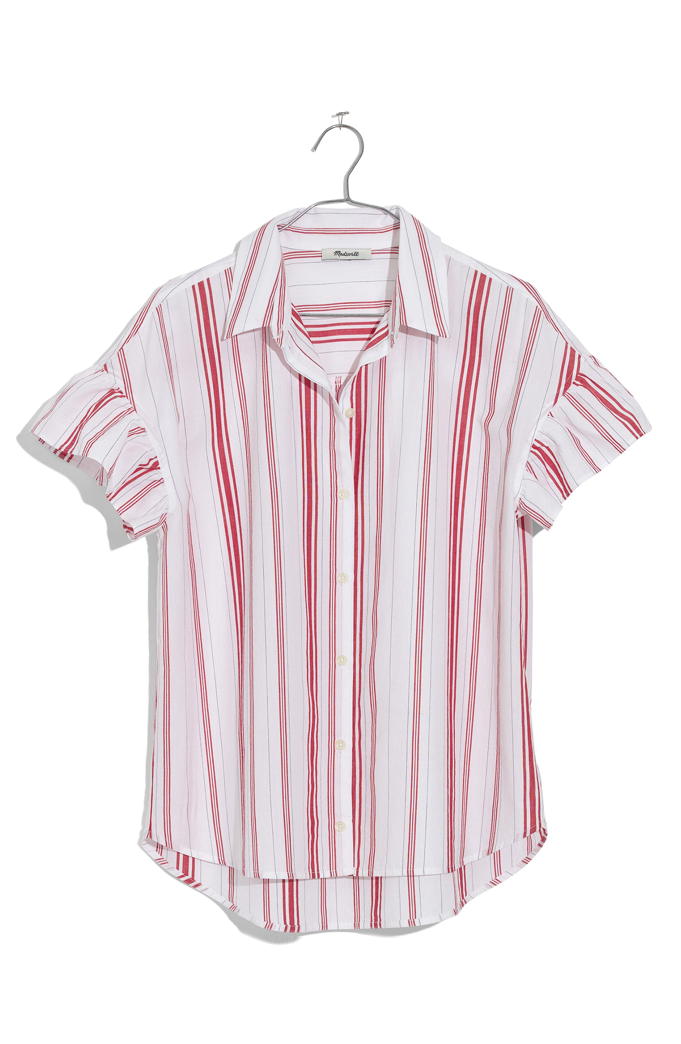 Central Stripe Ruffle Sleeve Shirt,                             Alternate thumbnail 4, color,                             Red Stripe