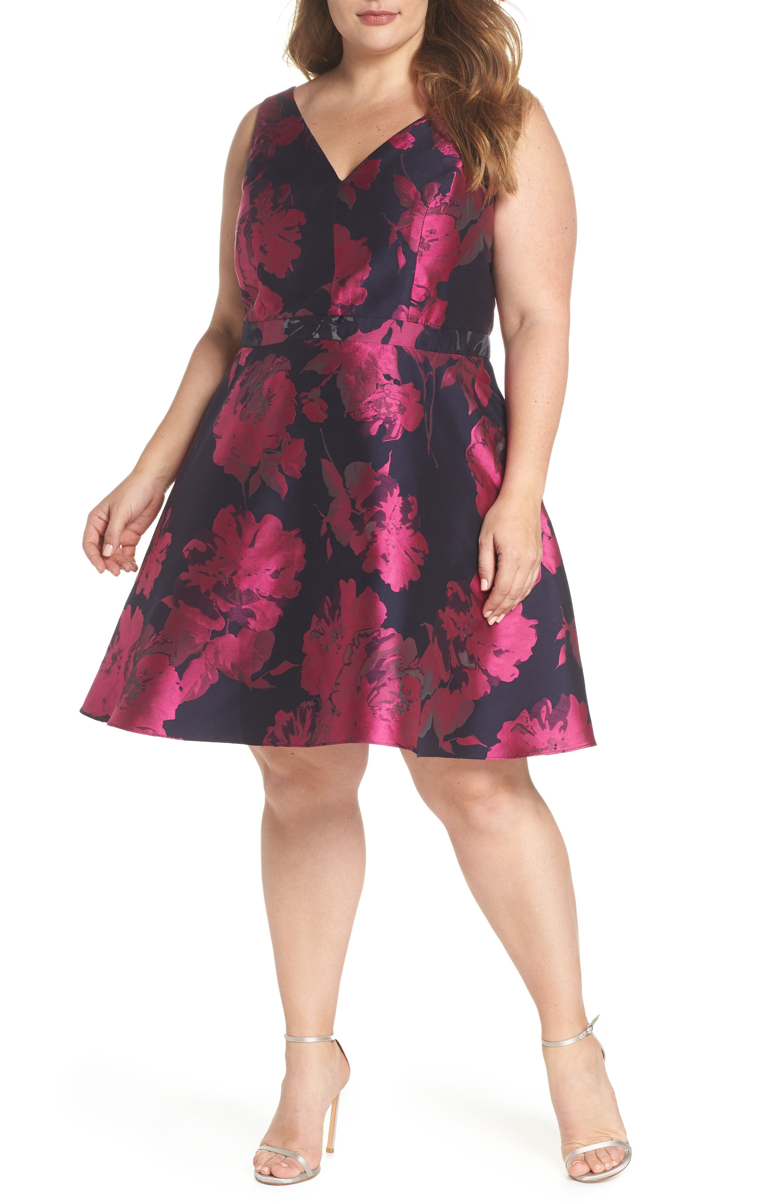 Floral Brocade Fit & Flare Dress,                             Main thumbnail 1, color,                             Navy/ Fuchsia